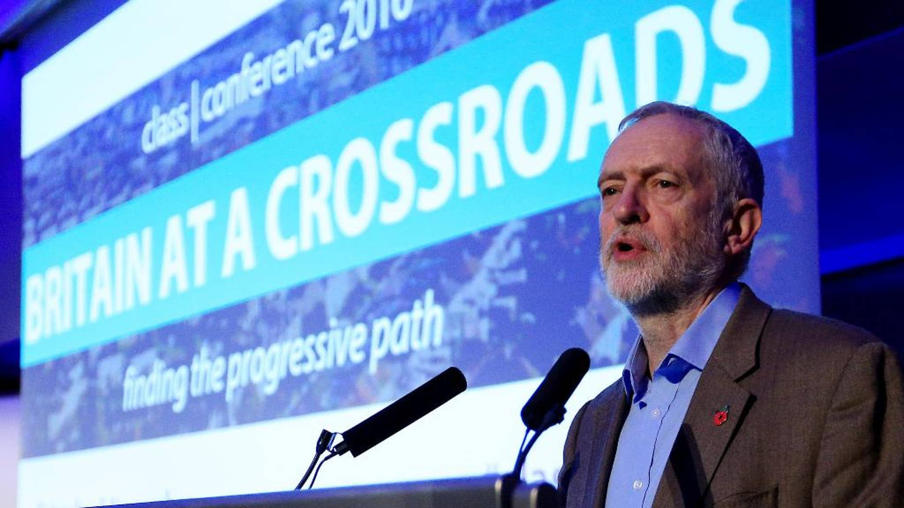 Britain's Labour Party leader Jeremy Corbyn gives a speech at the TUC Congress Centre in central London Saturday Nov. 5, 2016.  A High Court ruling that Britain's Parliament must give approval before triggering the formal process of Brexit, taking Britain out of the European Union, is forcing Corbyn to manage his party to form a cohesive opposition, seemingly without strong support from his party's legislators.  (Jonathan Brady / PA via AP)