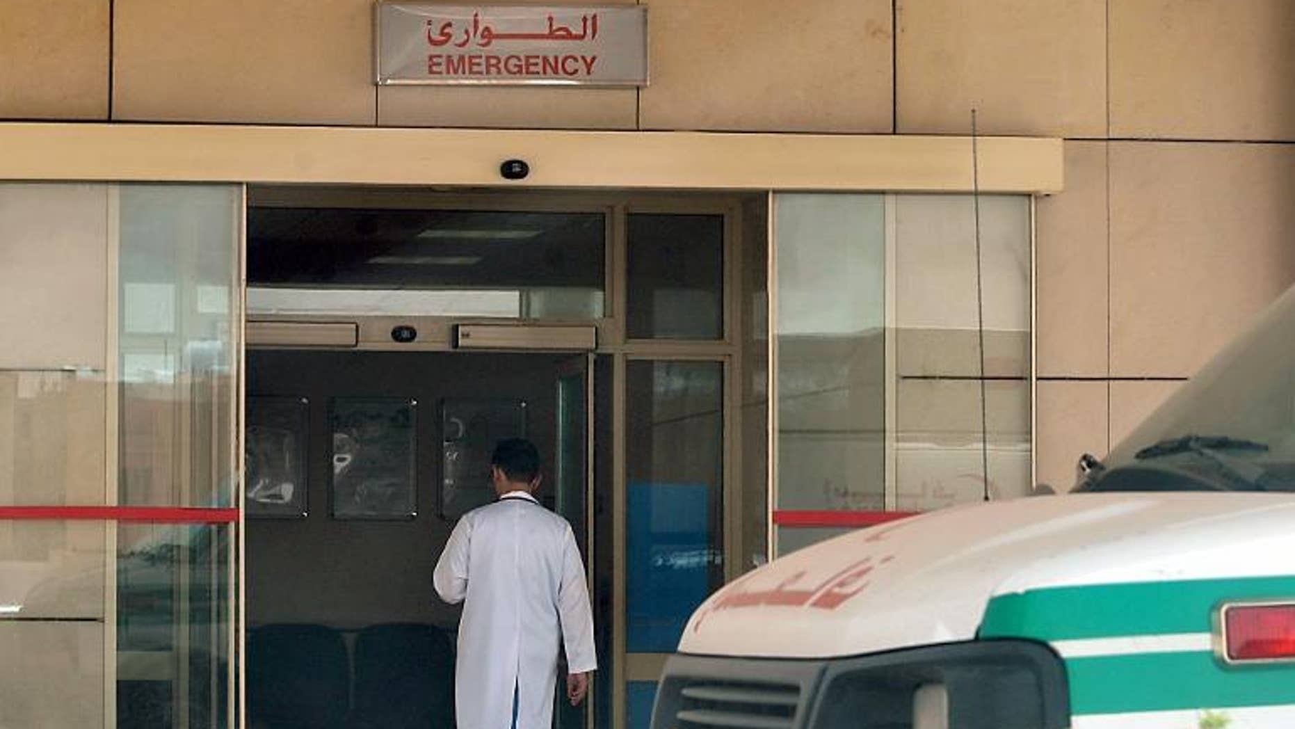 A medical workers enters the emergency section of a local hospital in the centre of the Saudi capital Riyadh, on May 13, 2013