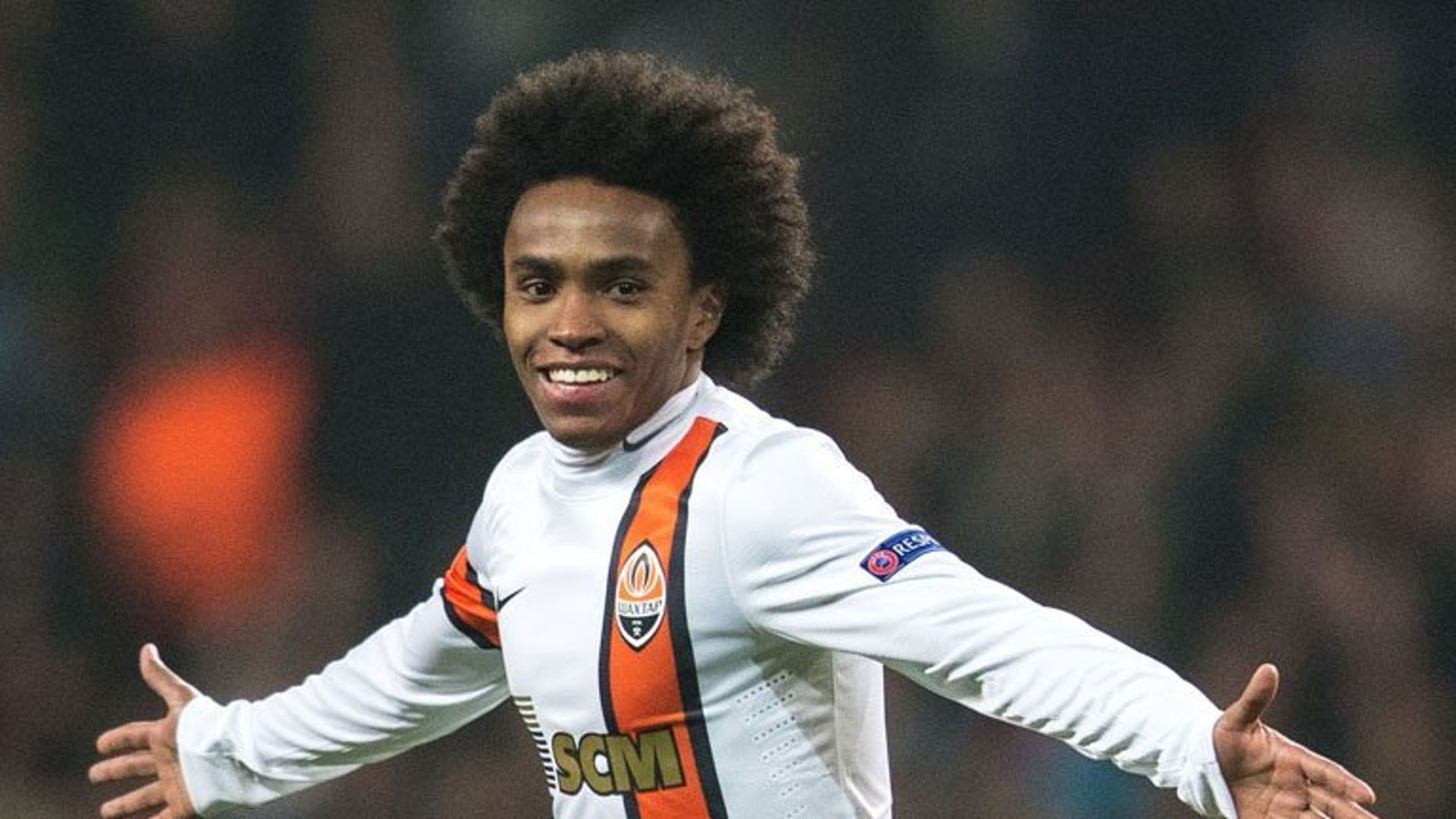 Brazilian midfielder Willian, then of Shakhtar Donetsk, pictured during a Champions League Group E clash against FC Nordsjaelland in Copenhagen, Denmark, on November 20, 2012. Tottenham manager Andre Villas-Boas on Wednesday confirmed that the Premier League side were in talks with Russian club Anzhi Makhachkala over the signing of attacking midfielder Willian.