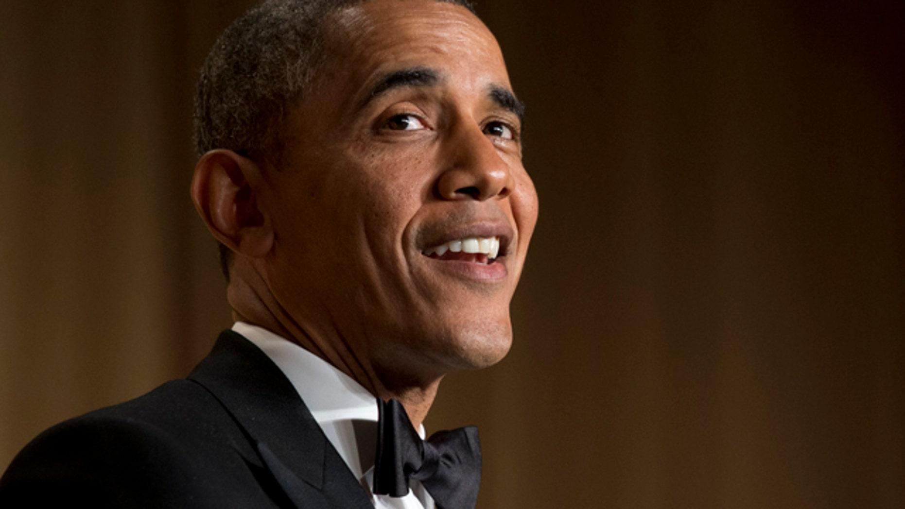 President Obama speaks during the White House Correspondents Association Dinner at the Washington Hilton Hotel.