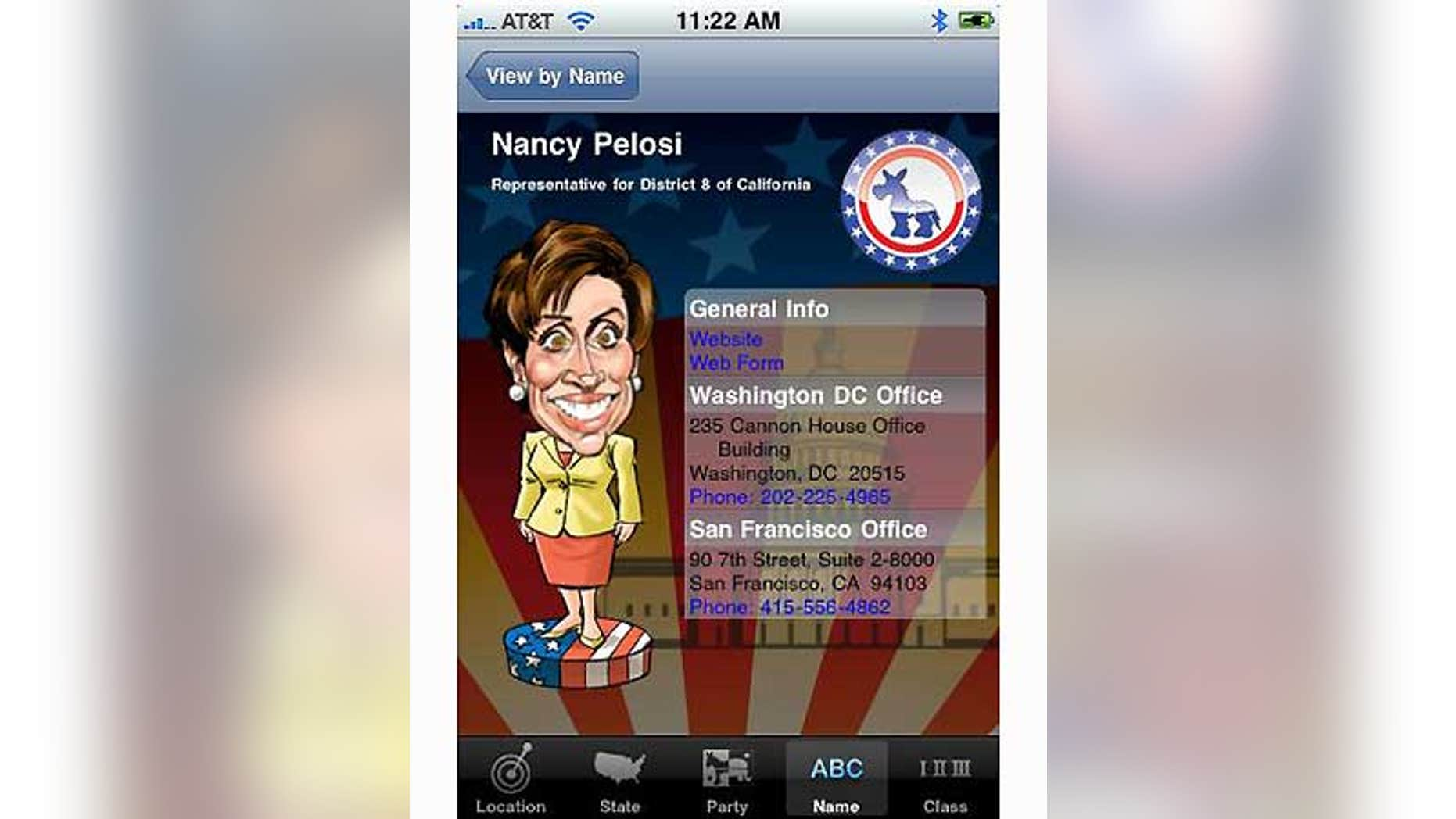 A conservative filmmaker in Hollywood thought he had developed a worthwhile iPhone app: a telephone directory listing every U.S. senator and congressman, with caricatures of the legislators drawn by an artist.