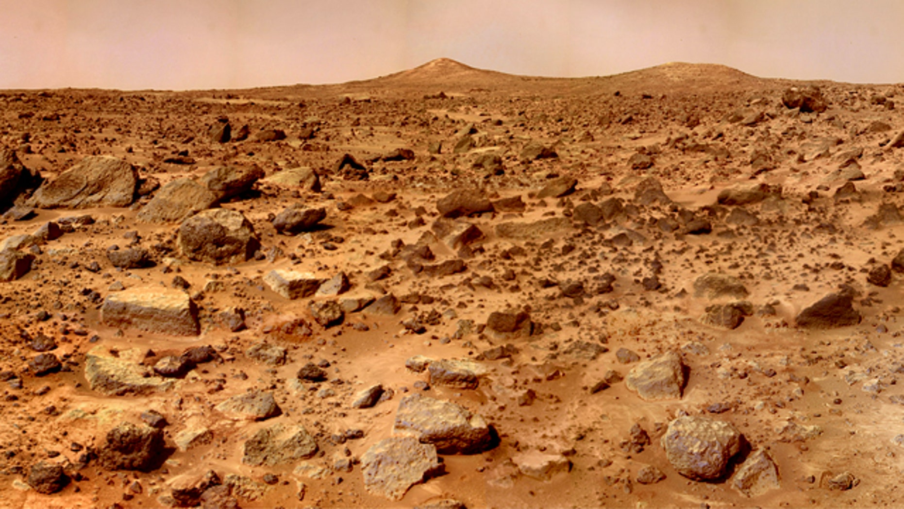 NASA's 1997 Pathfinder mission to Mars returned this stunning image of the planet's rocky red landscape.