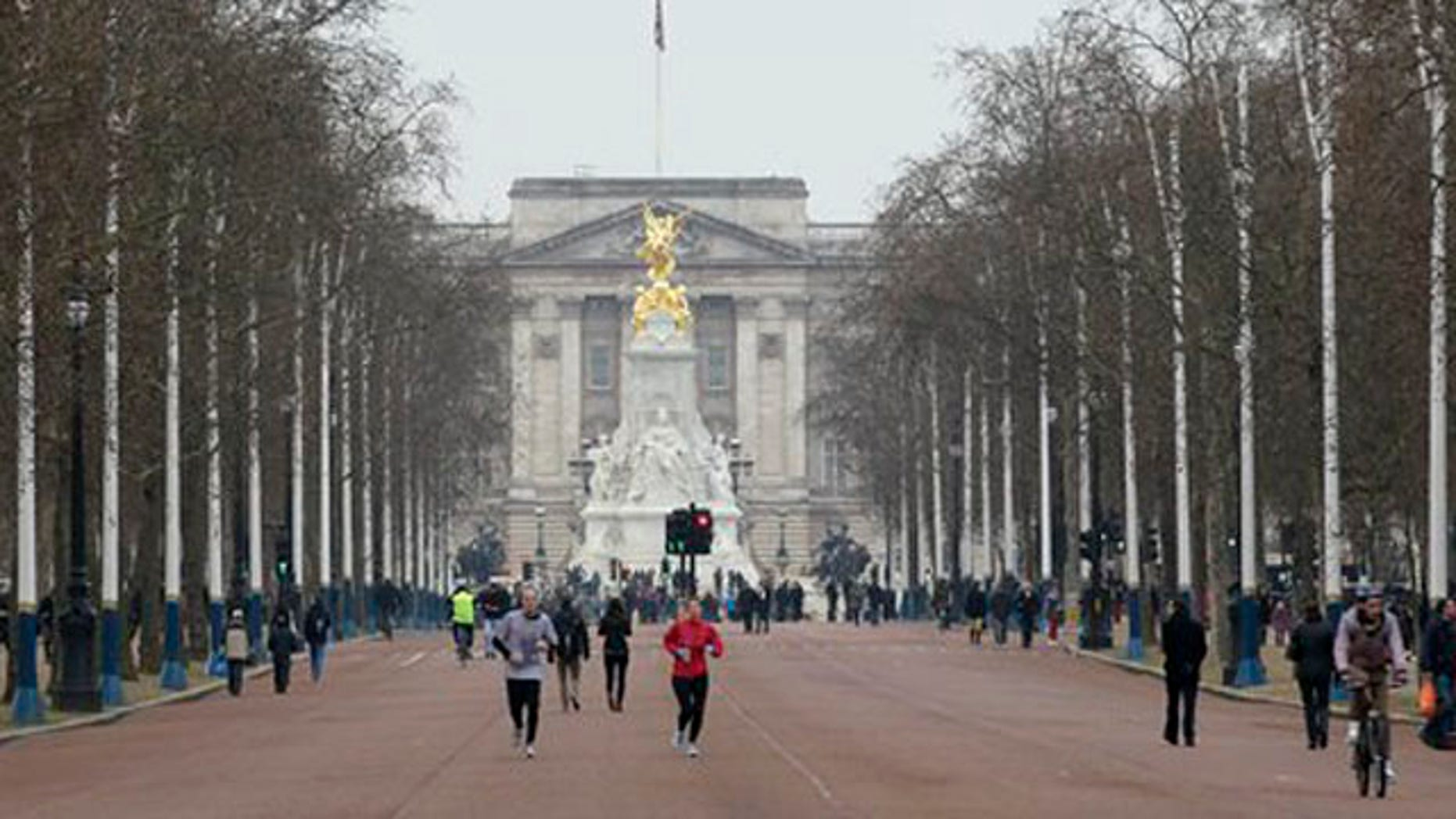 Jan. 29, 2012: People jog down the Mall from Buckingham Palace in London. The Mall will host the start and finish of London 2012 Olympic marathon, race walk and road cycling competitions with most sections of the courses free to watch.