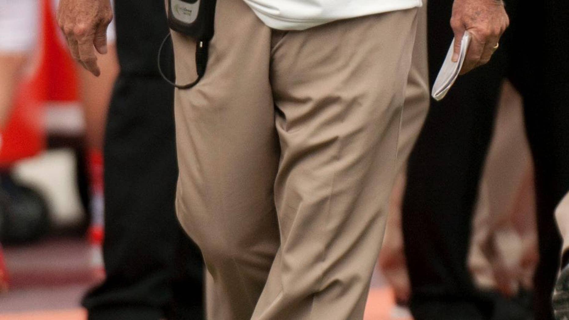 Virginia Tech head coach Frank Beamer stands on the sideline during an NCAA college football game against East Carolina, Saturday, Sept. 13, 2014, in Blacksburg, Va. (AP Photo/Don Petersen)
