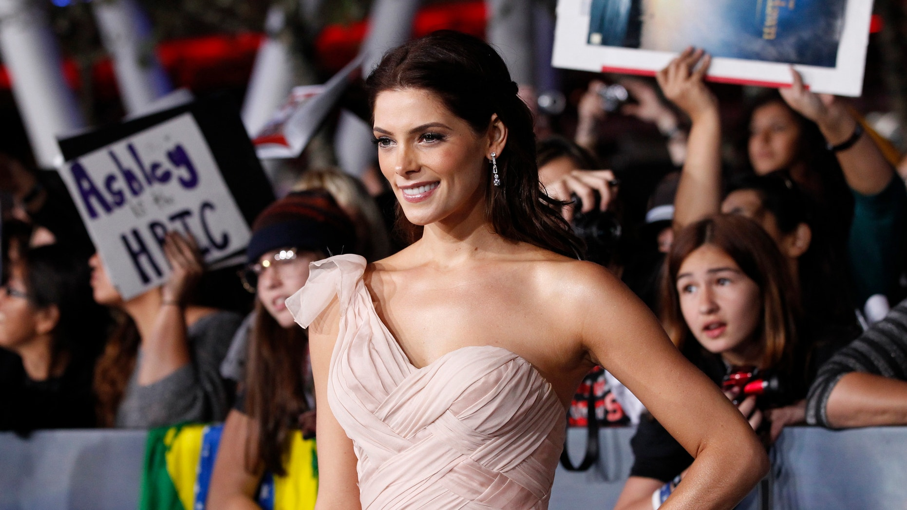 """Cast member Ashley Greene poses at the premiere of """"The Twilight Saga: Breaking Dawn - Part 2"""" in Los Angeles, California, November 12, 2012."""