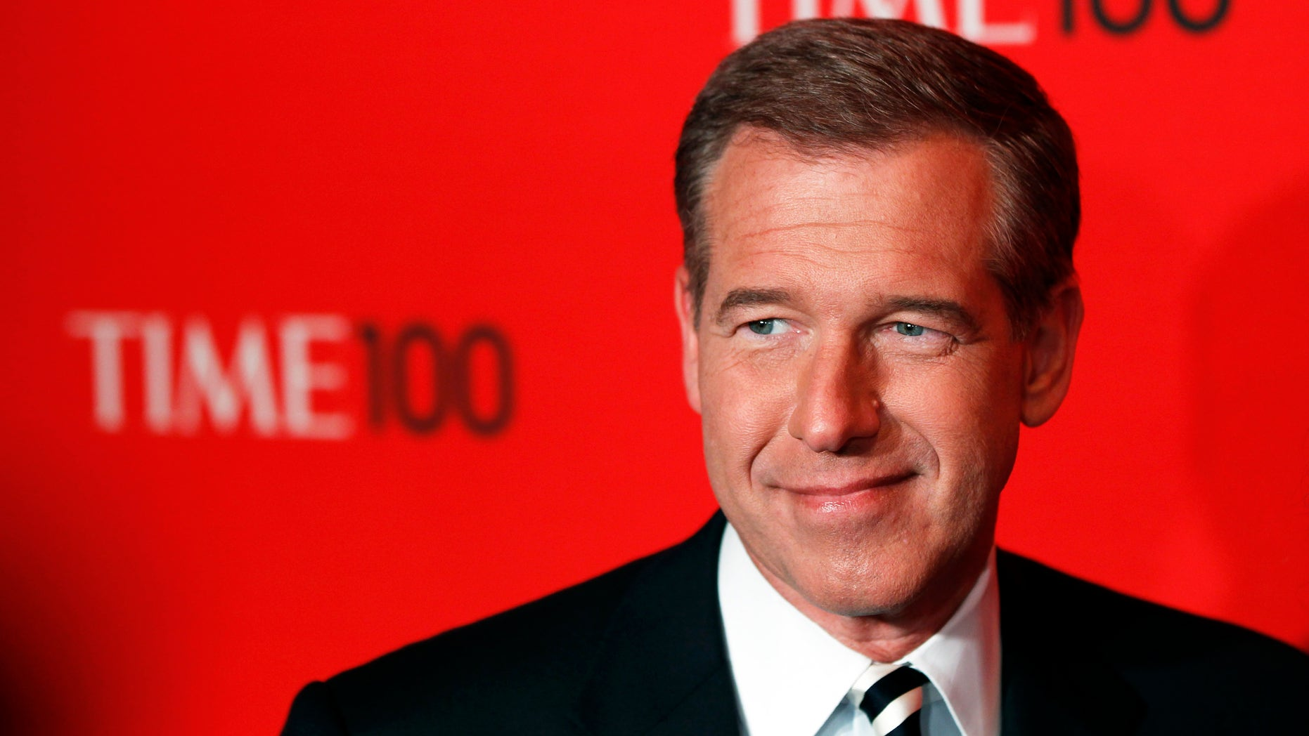 Television personality Brian Williams arrives at the Time 100 Gala in New York, April 24, 2012. The Time 100 is an annual list of the 100 most influential people in the last year complied by Time Magazine. REUTERS/Lucas Jackson (UNITED STATES - Tags: ENTERTAINMENT) - RTR316MP