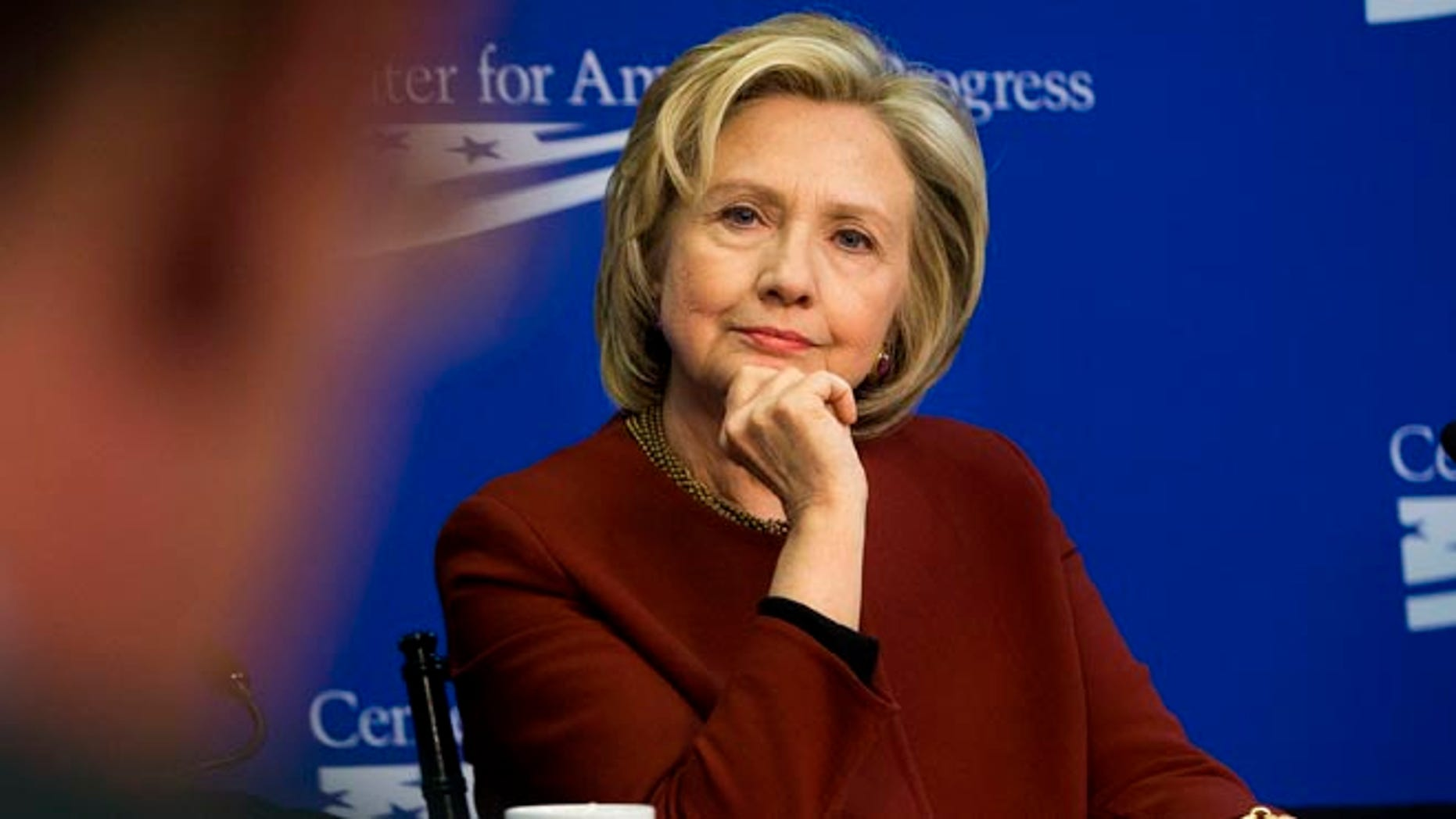 In this photo taken March 23, 2015, former Secretary of State Hillary Rodham Clinton listens during an event hosted by the Center for American Progress (CAP) and the America Federation of State, County and Municipal Employees (AFSCME), in Washington.  A final nuclear deal with Iran would enable Clinton to claim a piece of the victory. But if negotiations fall apart or produce an agreement that lets Iran pursue a bomb, Clinton would own a piece of the failure. The likely Democratic presidential candidate and former secretary of state seems well aware of the implications.  (AP Photo/Pablo Martinez Monsivais)