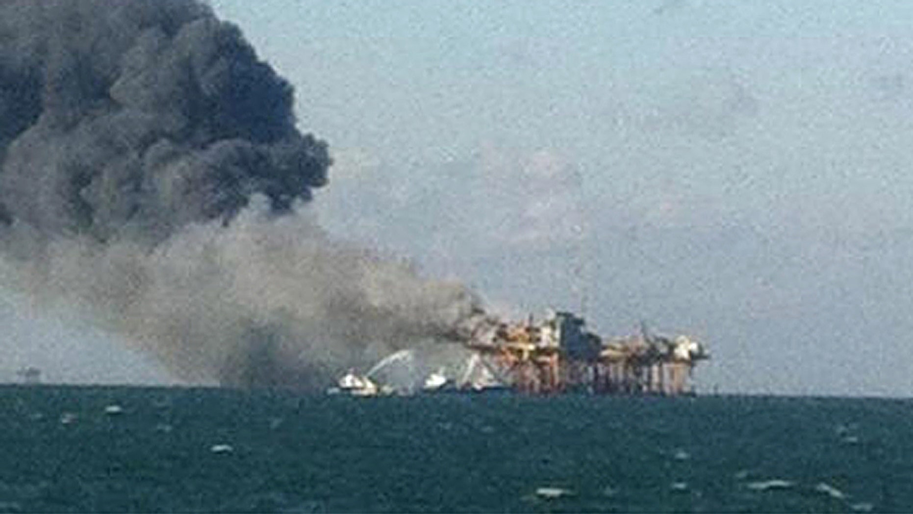 Nov. 16, 2012: In this image released by a oil field worker and obtained by the Associated Press, a fire burns on a Gulf oil platform after an explosion on the rig, in the Gulf of Mexico off the Louisiana coast.