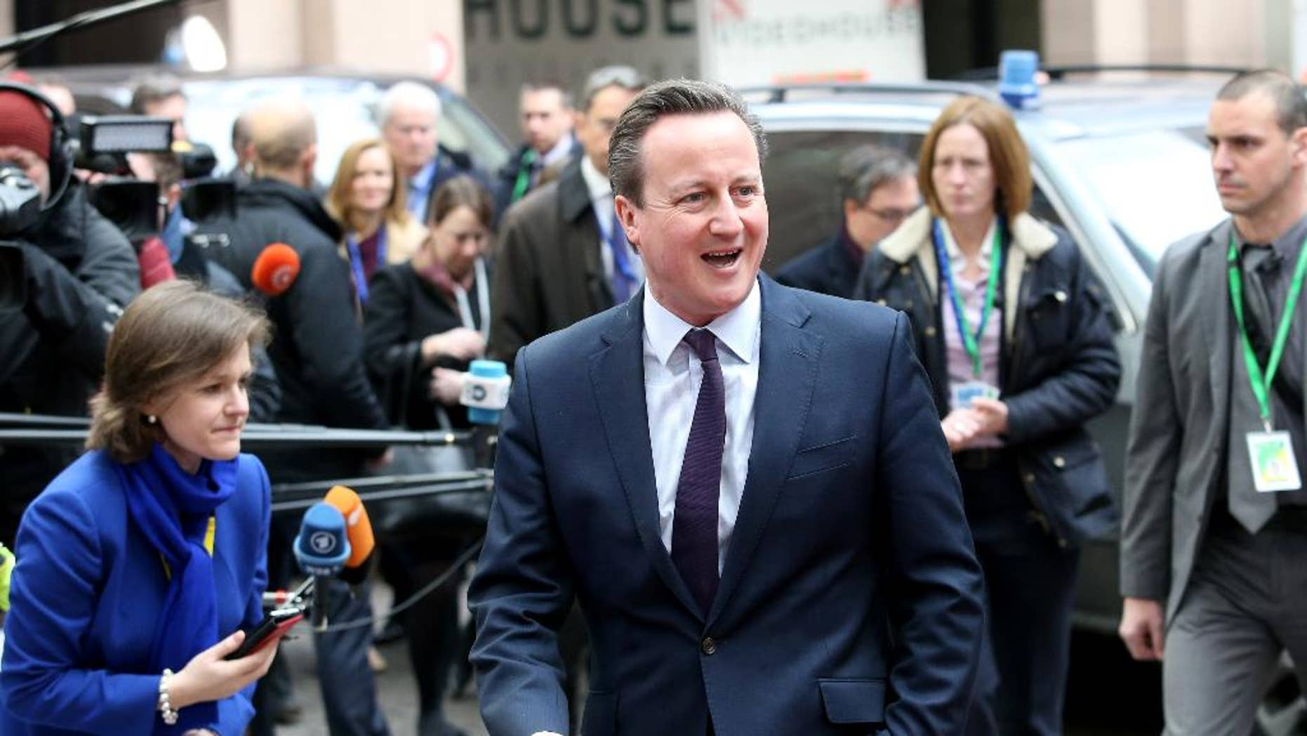 FILE- In this March 7, 2016 file photo, British Prime Minister David Cameron arrives for an EU summit at the EU Council building in Brussels. Cameron said Wednesday May 4, 2016, advocates of leaving the European Union have not thought through the impact it would have on the economy. (AP Photo/Francois Walschaerts, File)