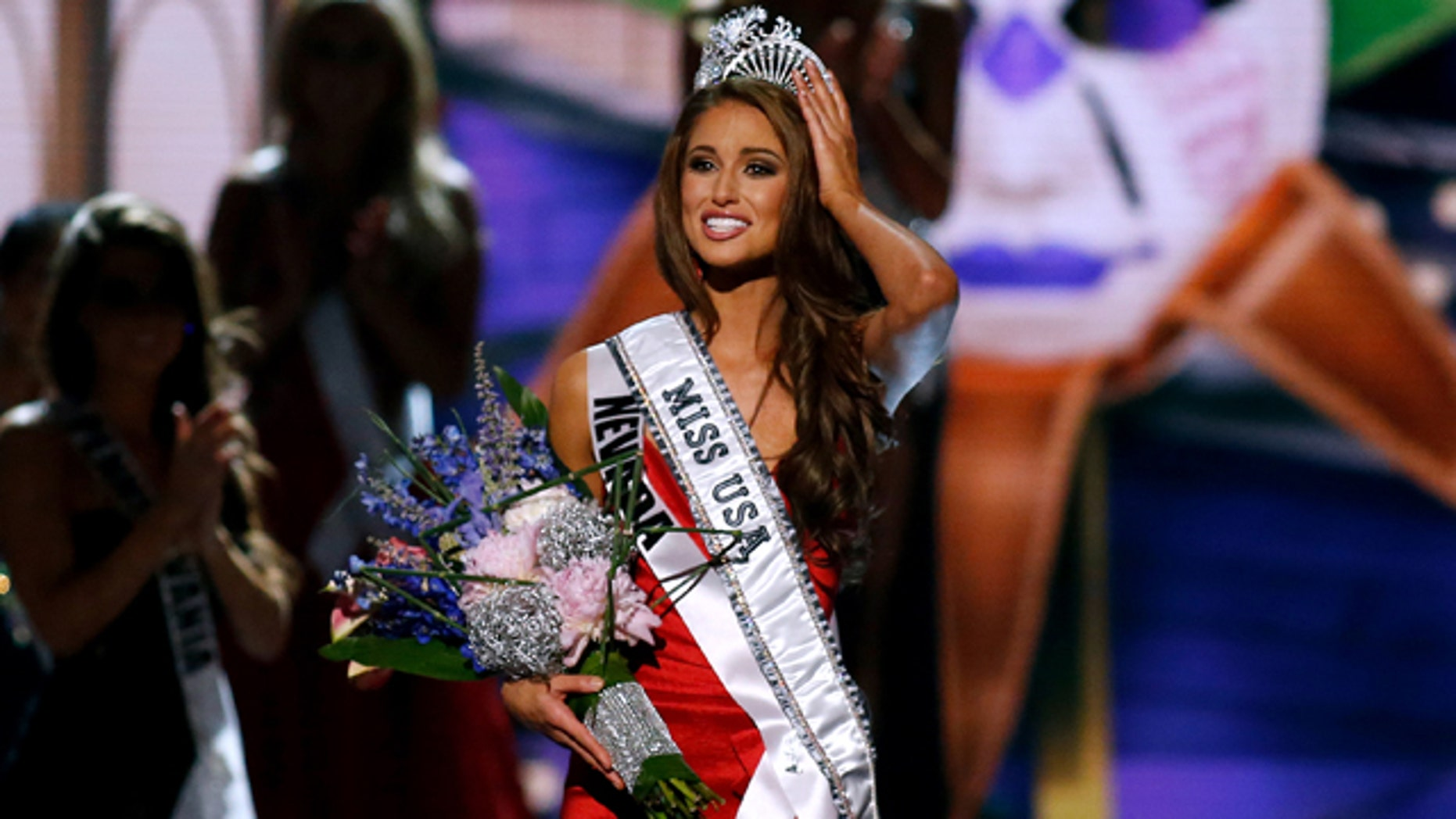 Miss Nevada USA Nia Sanchez after being crowned the new Miss USA, on June 8, 2014.