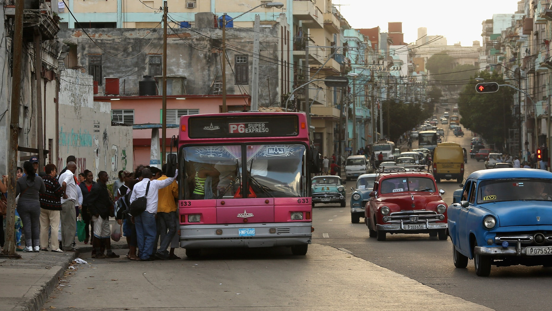 Cuban commuters during the rush home in the Vedado district January 26, 2015 in Havana, Cuba.