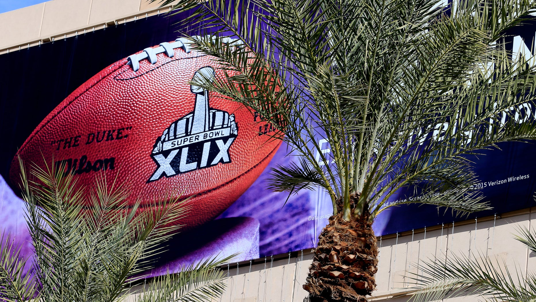 PHOENIX, AZ - JANUARY 28:  A detailed view of a logo for the upcoming Super Bowl XLIX between the Seattle Seahawks and New England Patriots in an NFL fan on January 28, 2015 in Phoenix, Arizona.  (Photo by Rob Carr/Getty Images)