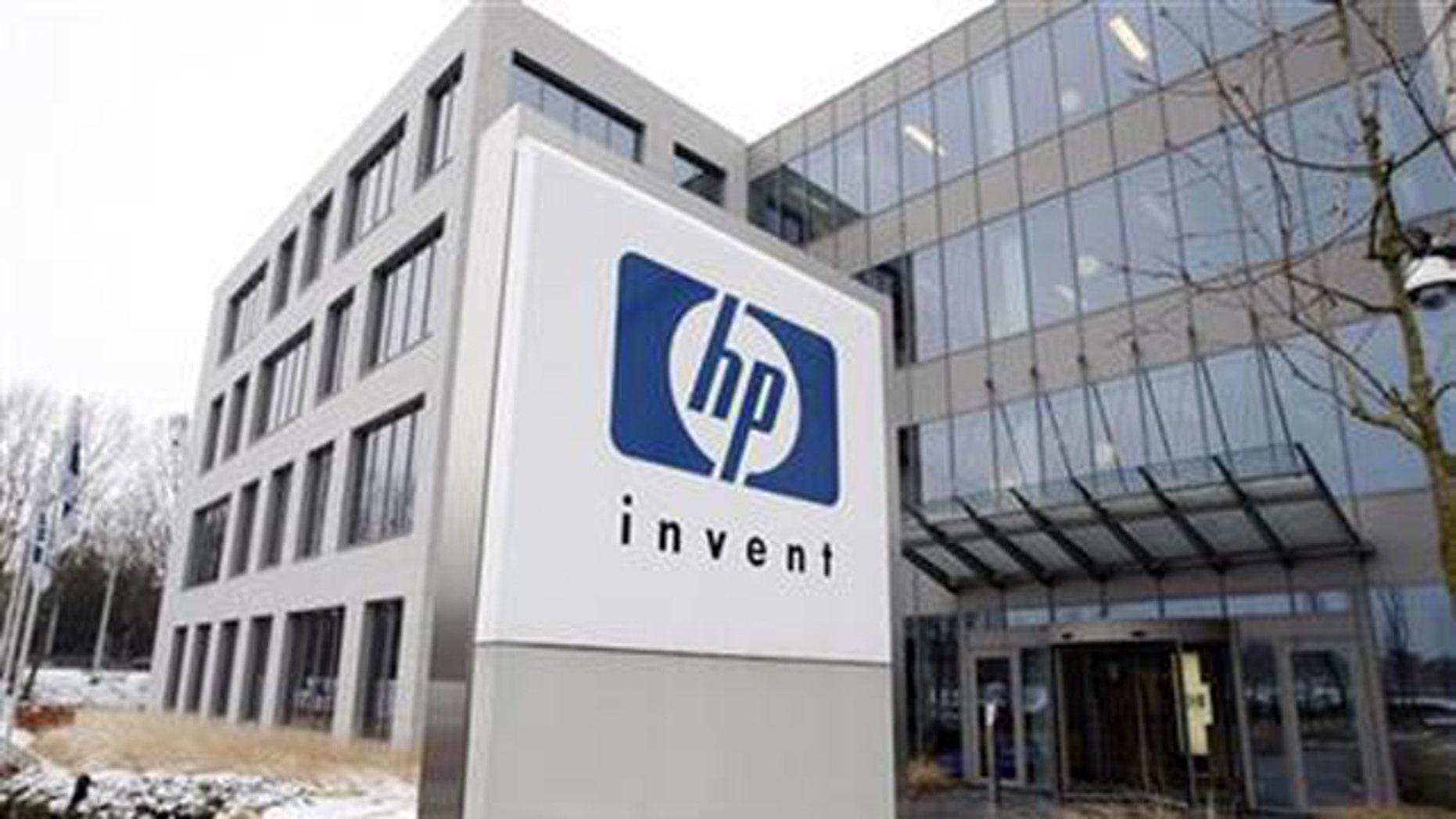 Jan. 12, 2010: A logo of HP is seen outside Hewlett-Packard Belgian headquarters in Diegem, near Brussels.