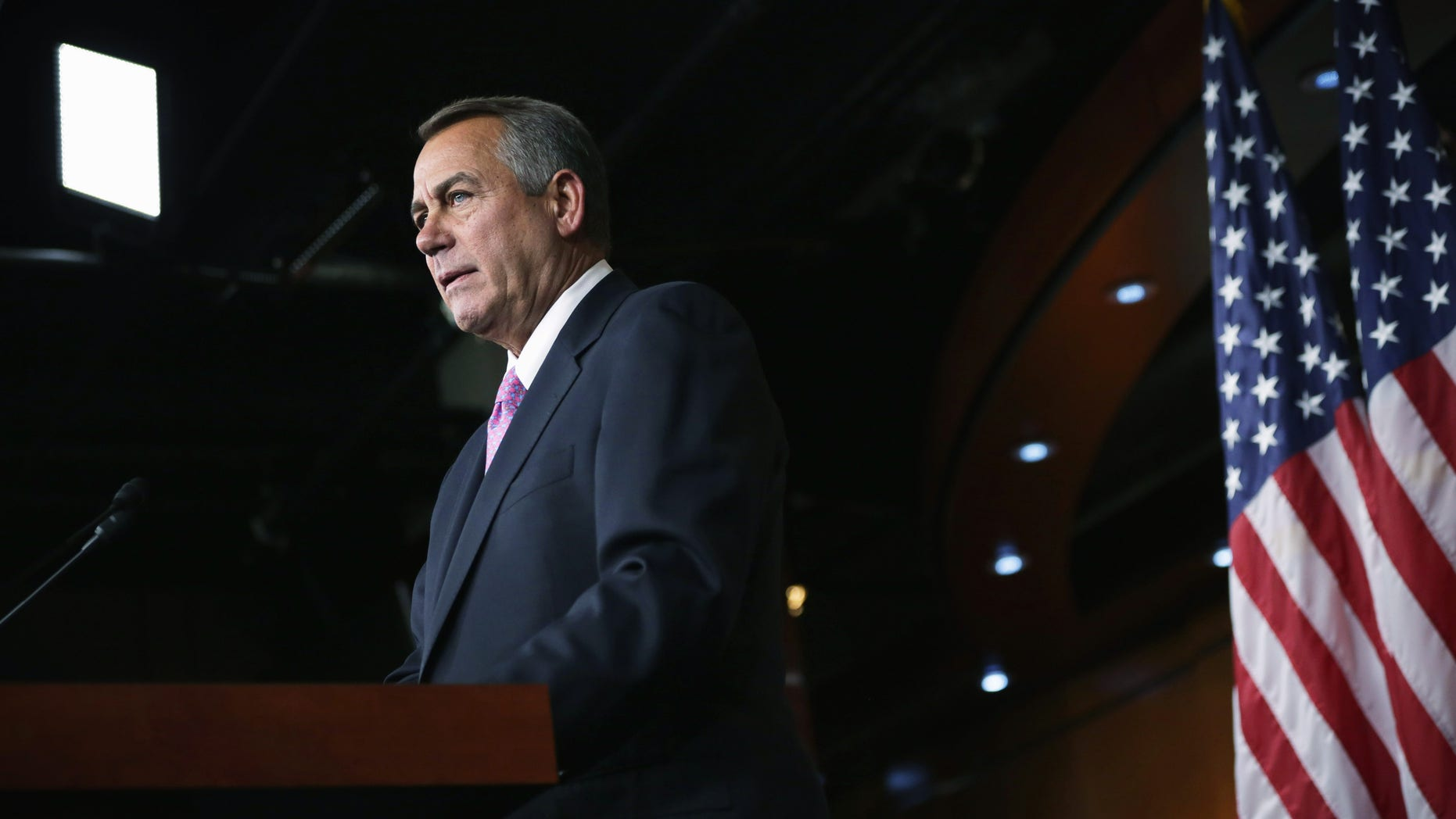 WASHINGTON, DC - FEBRUARY 06:  U.S. Speaker of the House Rep. John Boehner (R-OH) speaks during his weekly news conference February 6, 2014 on Capitol Hill in Washington, DC. Speaker Boehner discussed Republican agenda with members of the media at the news conference. (Photo by Alex Wong/Getty Images)