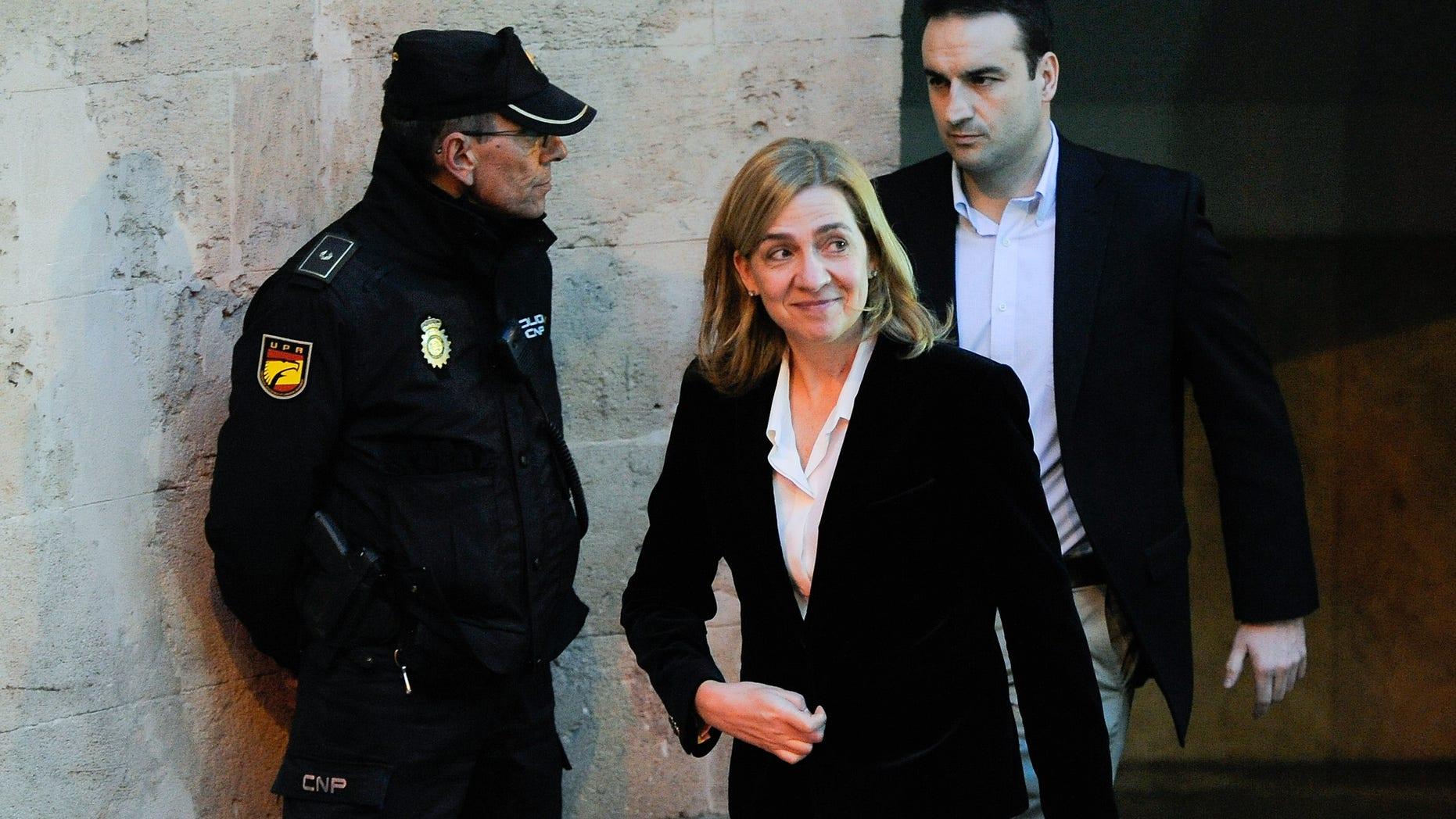 Princess Cristina leaves the Palma de Mallorca Couthouse on February 8, 2014 in Palma de Mallorca, Spain.