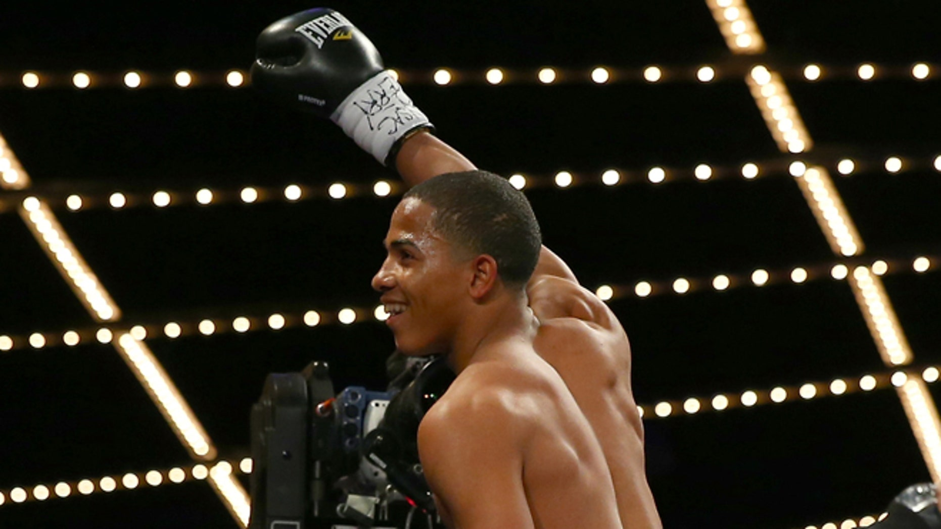 NEW YORK, NY - JANUARY 25:  Felix Verdejo celebrates his knockout of Lauro Alcantar in the first round at Madison Square Garden on January 25, 2014 in New York City.  (Photo by Elsa/Getty Images)