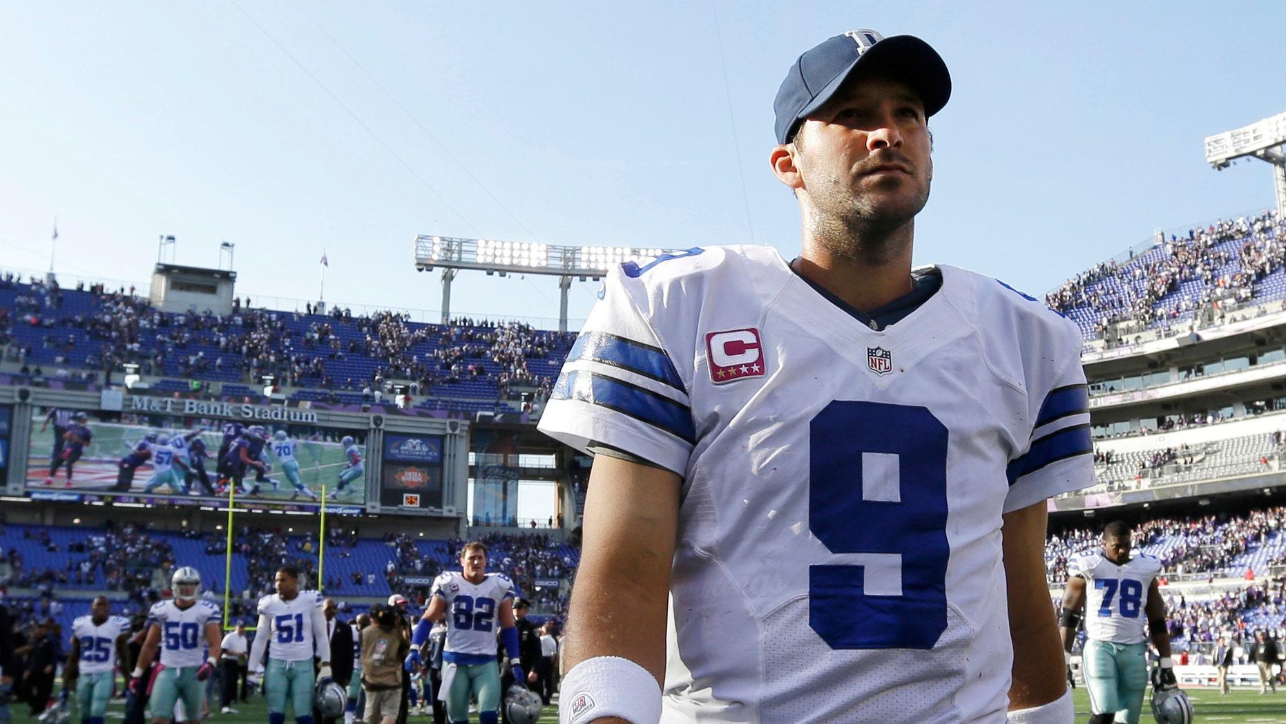 Dallas Cowboys quarterback Tony Romo (AP Photo/Patrick Semansky)