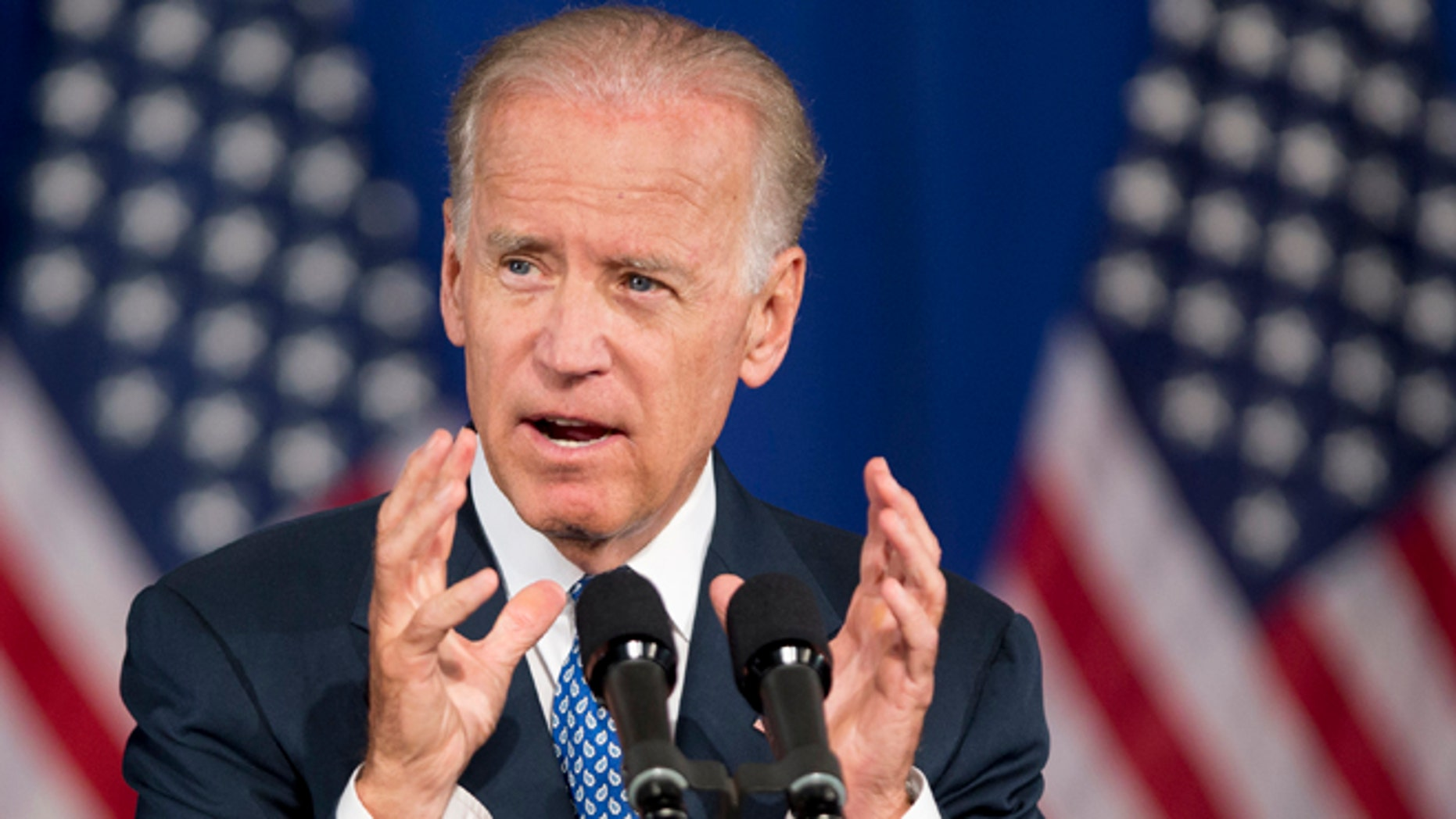 FILE - In this July 18, 2013 file photo, Vice President Joe Biden speaks in Washington. Biden plans to raise campaign cash for the Democratic leader of the first-in-the-nation primary state. The White House says Biden will appear at an Aug. 22 fundraiser for New Hampshire Gov. Maggie Hassan, who faces re-election next year.  (AP Photo/Manuel Balce Ceneta, File)