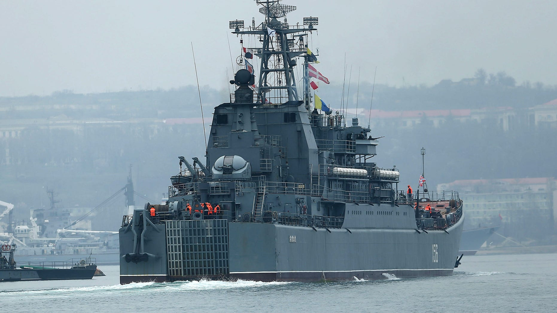 A Russian warship is viewed in Sevastopol harbor on March 7, 2014 in Sevastopol, Ukraine.
