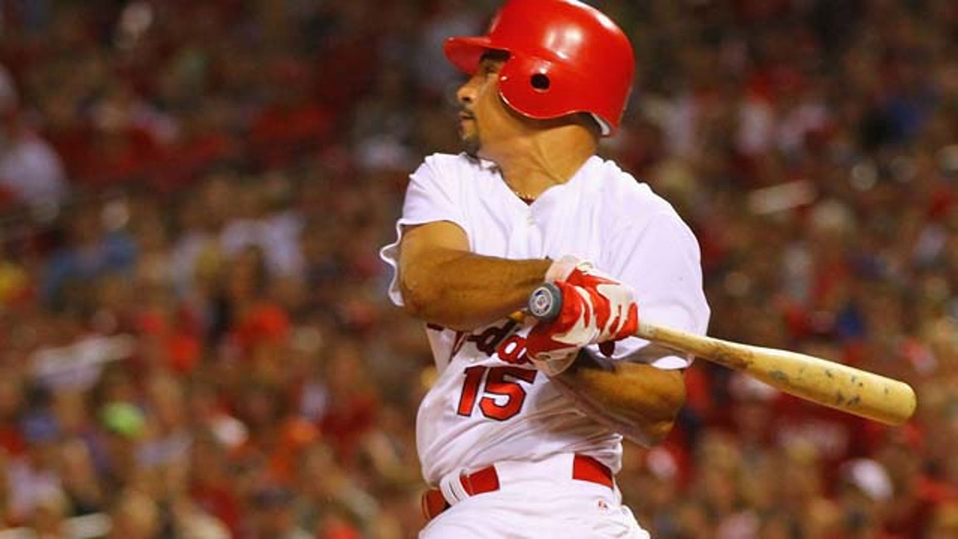 ST. LOUIS, MO - JULY 31: Newly acquired shortstop Rafael Furcal #15 of the St. Louis Cardinals pinch hits against the Chicago Cubs at Busch Stadium on July 31, 2011 in St. Louis, Missouri.  The Cubs beat the Cardinals 6-3.  (Photo by Dilip Vishwanat/Getty Images)