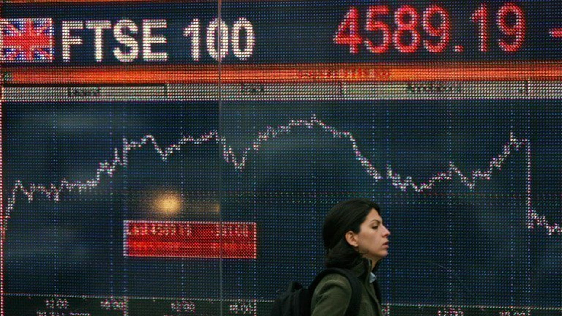 File picture shows a woman walking past an electronic sign showing the progress of the FTSE 100 share index in London on October 6, 2008.