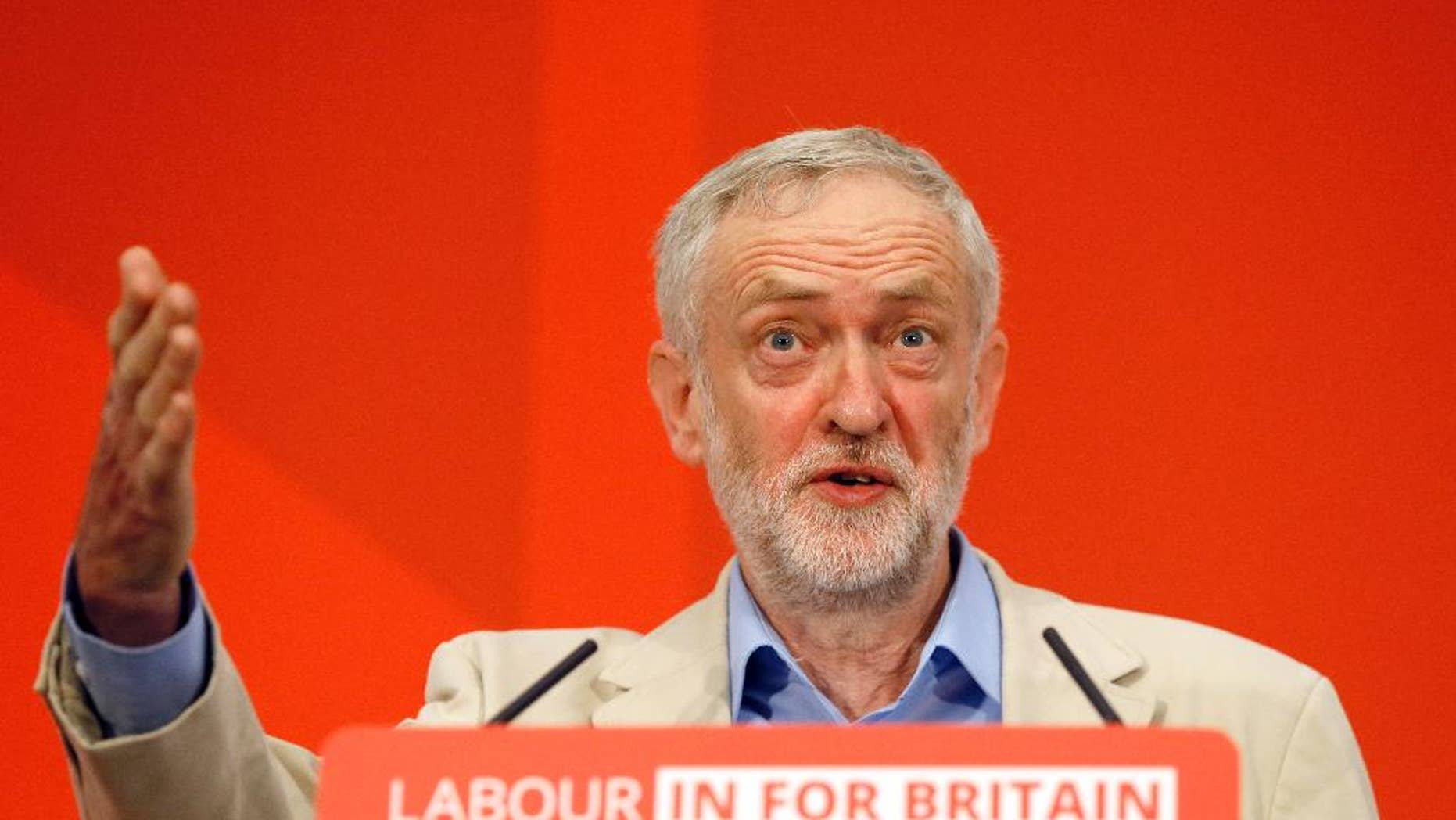 April 14, 2016: Jeremy Corbyn, leader of Britain's Labour Party, delivers a speech outlining Labour's position on the European referendum in London.