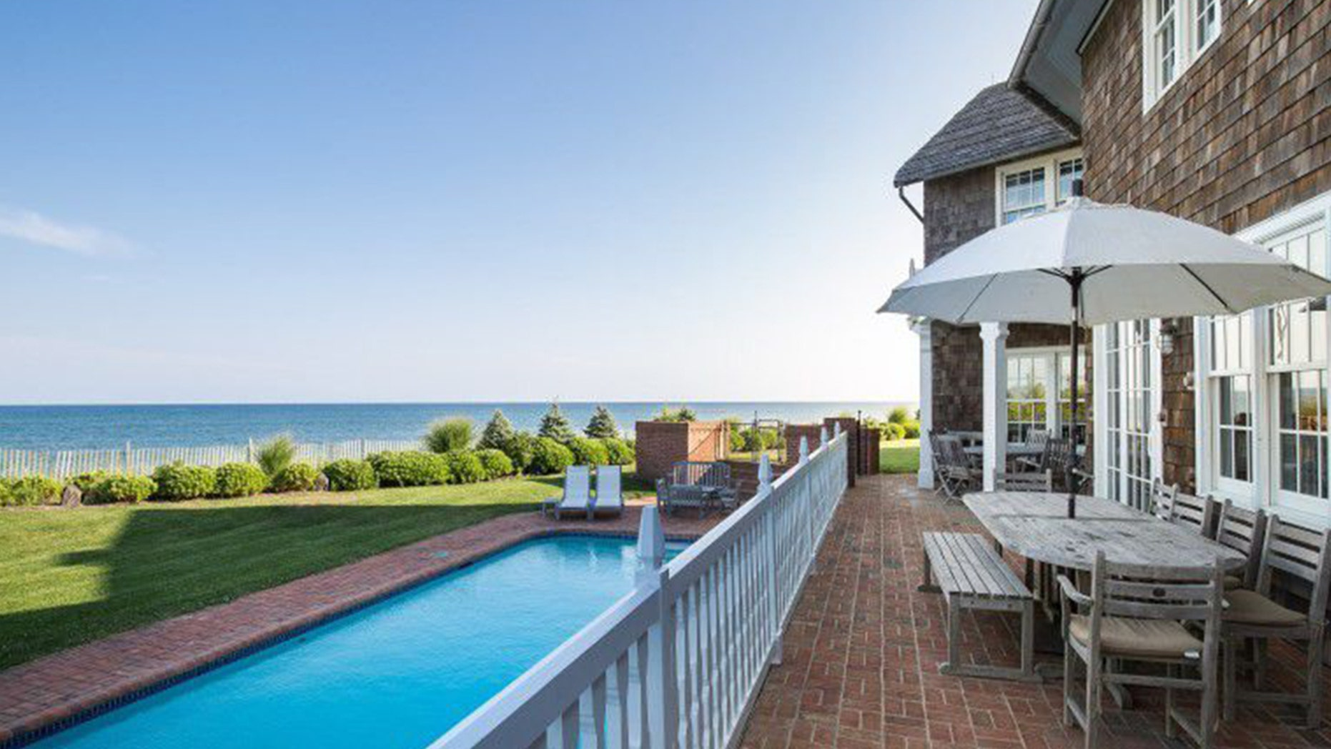 The gorgeous 10,000 square foot property sits on an oceanfront acre.