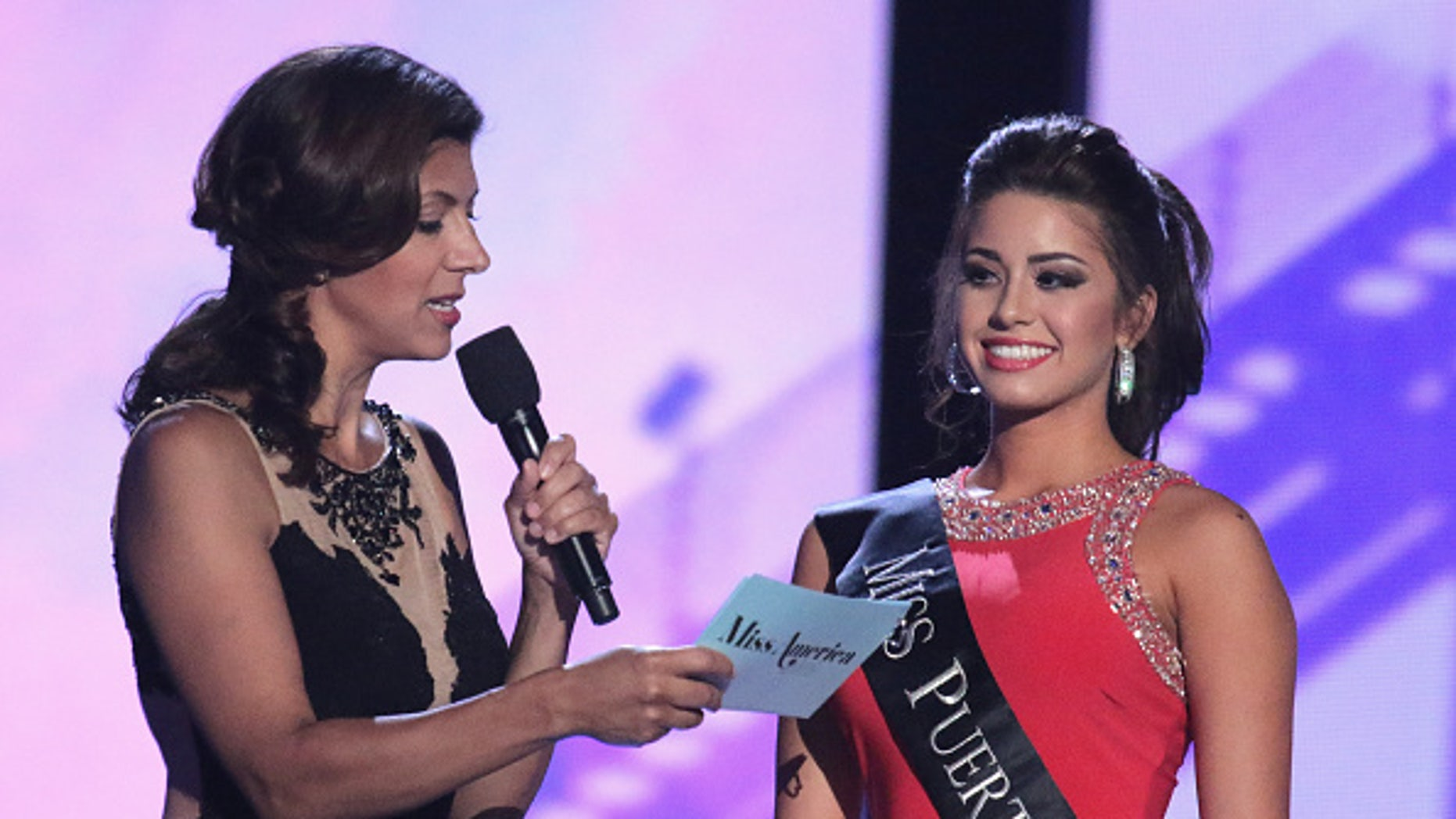 ATLANTIC CITY, NJ - SEPTEMBER 08:  Miss Puerto Rico, Destiny Noelle Velez speaks at the Tuesday Night Preliminaries - 2016 Miss America Competition at Atlantic City Boardwalk Hall on September 8, 2015 in Atlantic City, New Jersey.  (Photo by Donald Kravitz/Getty Images)