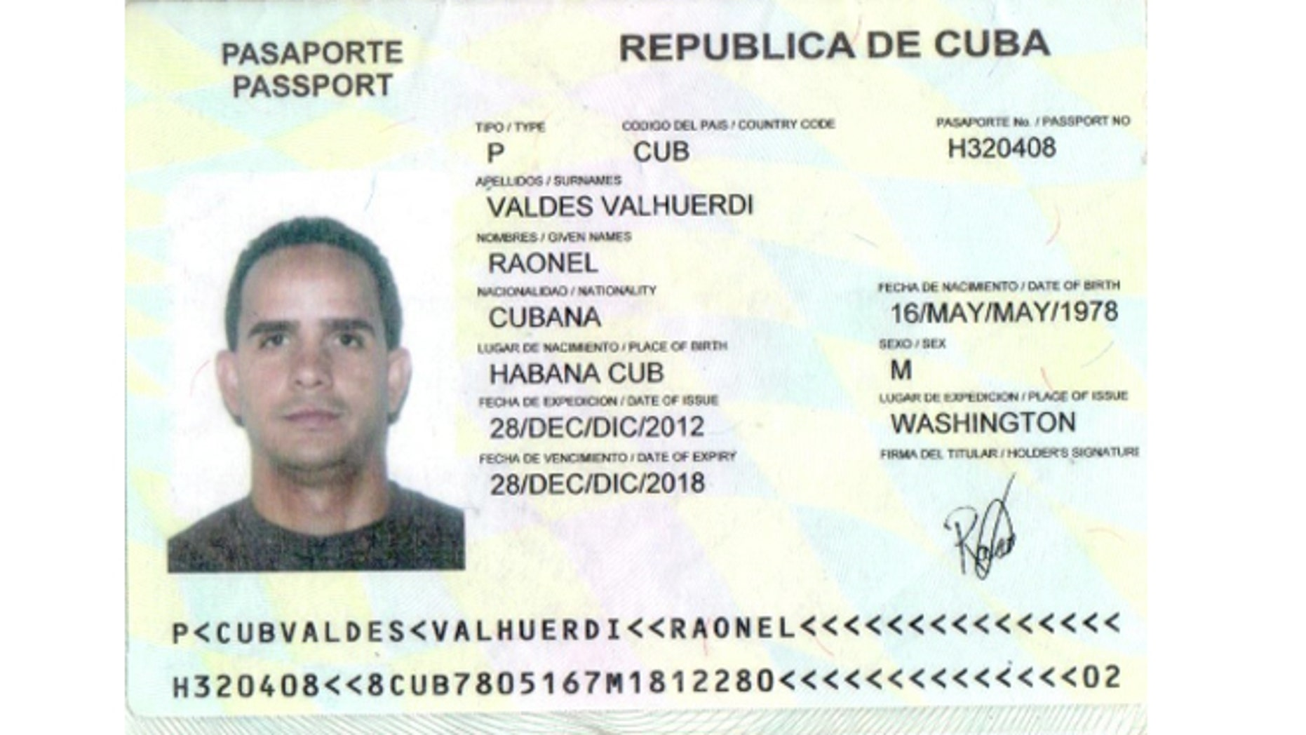 A photo of the passport of Raonel Valdez.