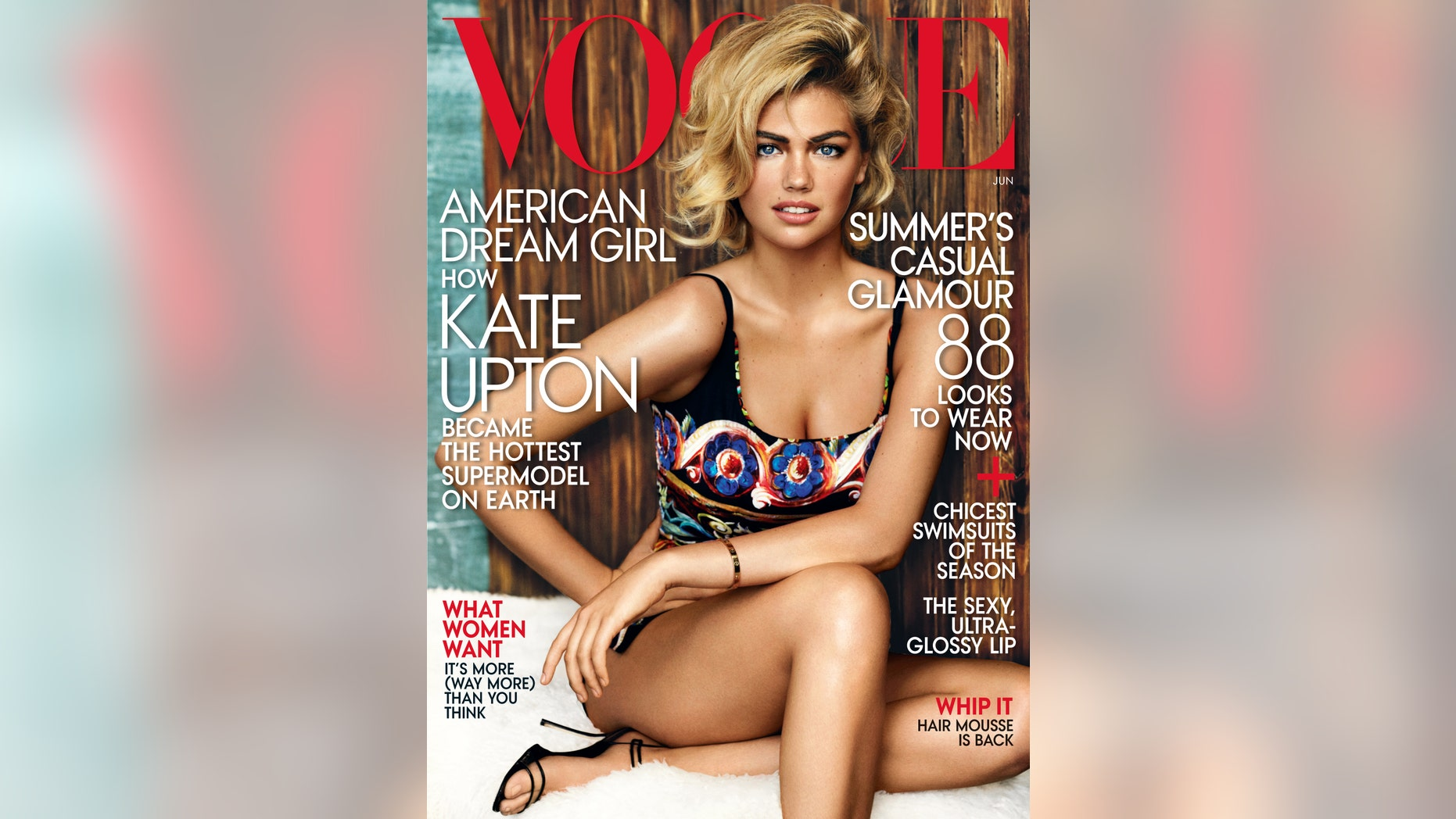 CORRECTS SPELLING TO GRACES - In this image released by Vogue, model Kate Upton graces the cover of the June 2013 issue. (AP Photo/Vogue)