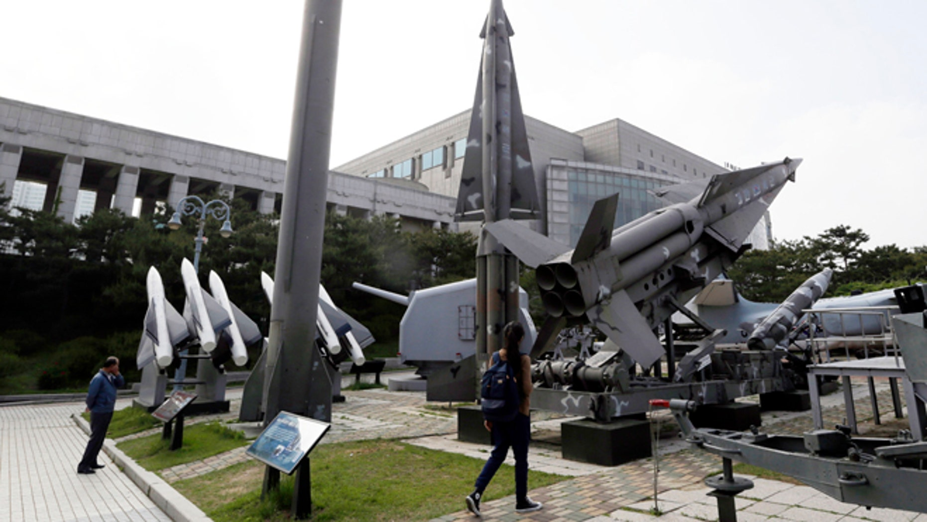May 20, 2013: In this file photo, a mock Scud-B missile of North Korea, left, and other South Korean missiles are displayed at the Korea War Memorial Museum in Seoul, South Korea.