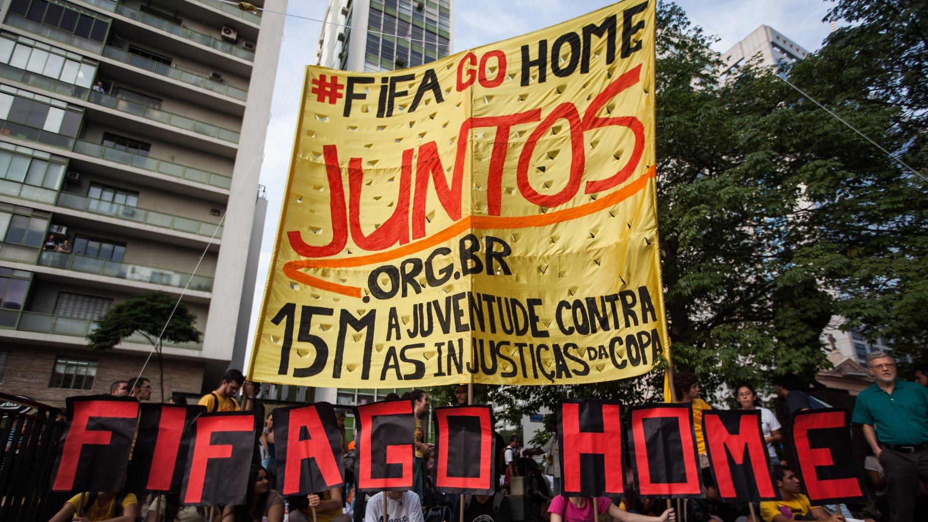 Demonstrators held a protest against the World Cup FIFA soccer on Thursday, May 15, 2014 in Sao Paulo, Brazil.