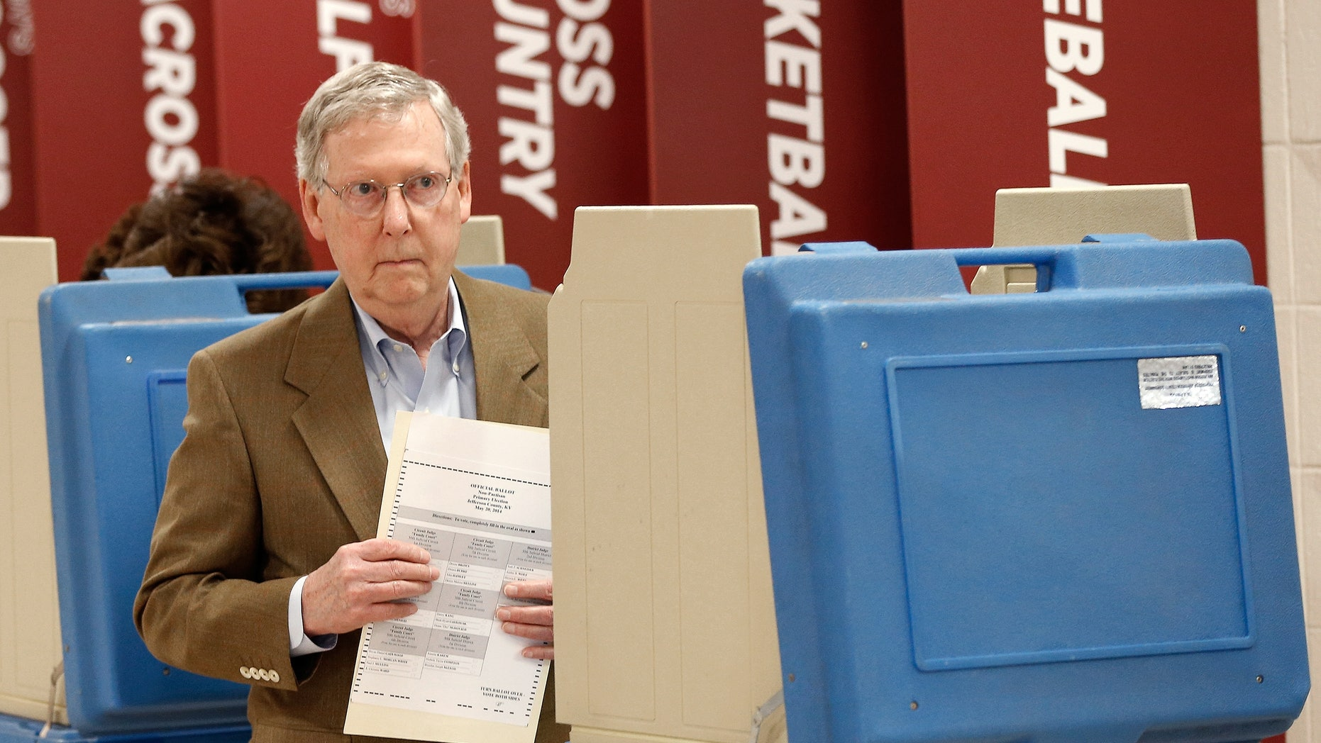 Sen. Mitch McConnell votes in the state Republican primary on May 20, 2014 in Louisville, Kentucky.