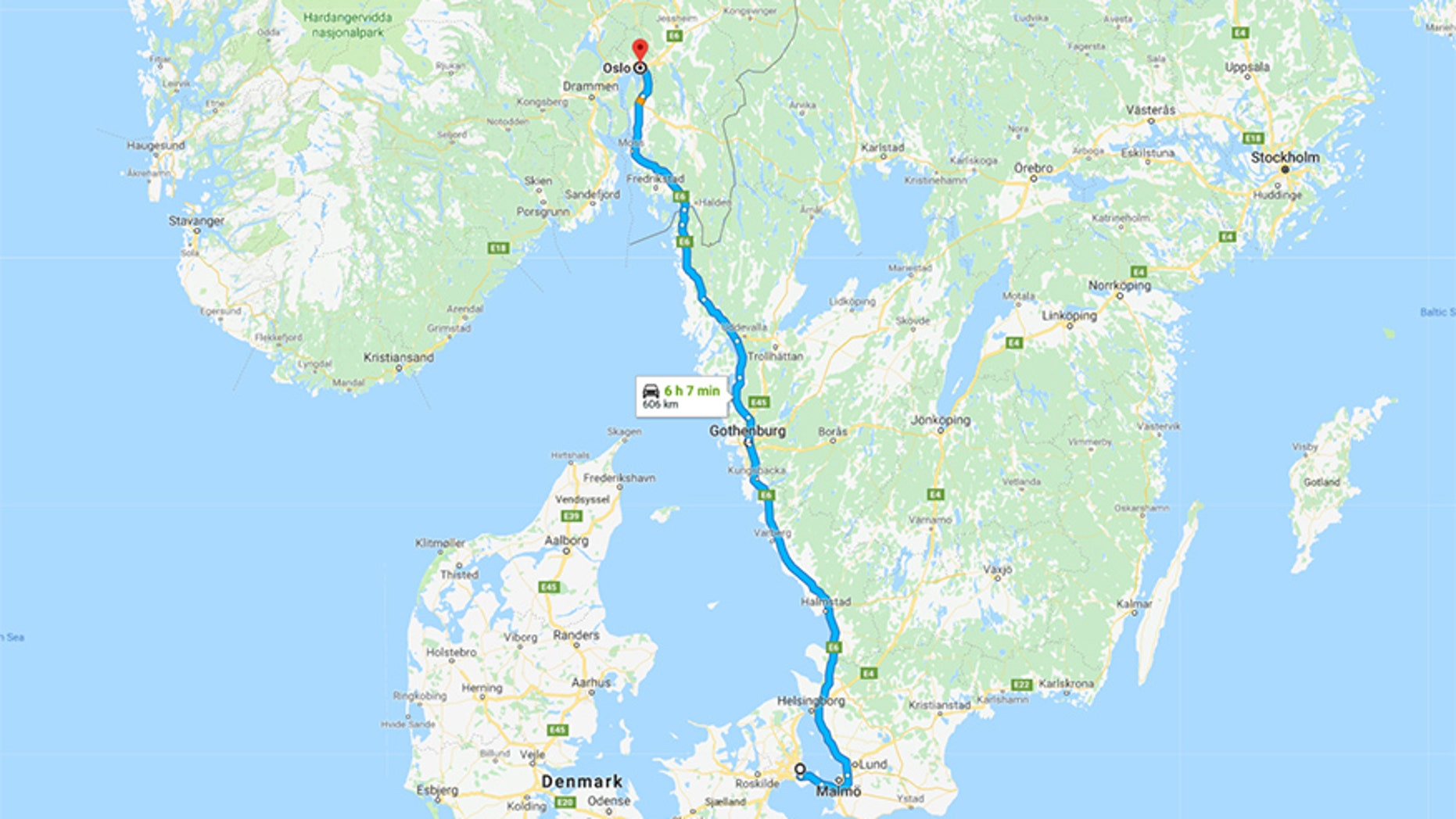The taxi journey from Copenhagen, Denmark to Oslo, Norway.