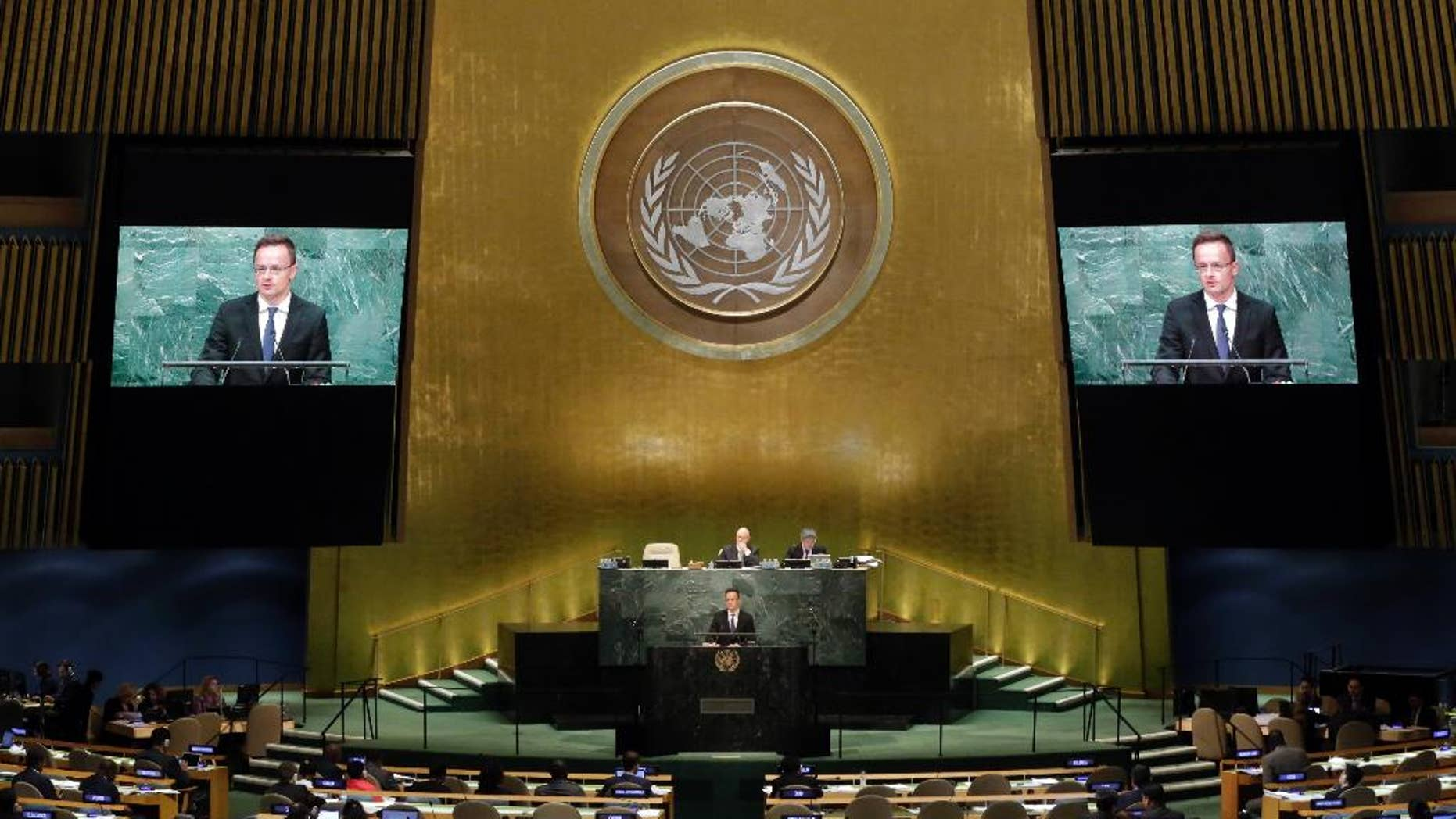 Hungary's Foreign Minister Peter Szijjarto addresses the 71st session of the United Nations General Assembly, at U.N. headquarters, Friday, Sept. 23, 2016. (AP Photo/Richard Drew)