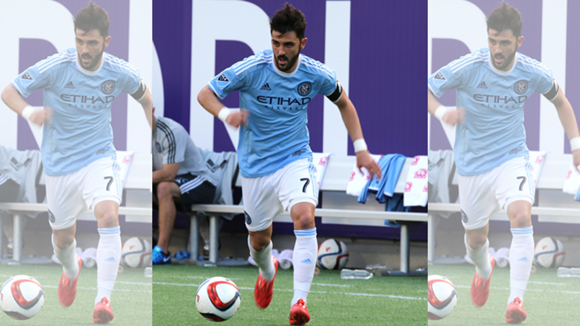 ORLANDO, FL - MARCH 08:  David Villa #7 of New York City FC is seen during an MLS soccer match between the New York City FC and the Orlando City SC at the Orlando Citrus Bowl on March 8, 2015 in Orlando, Florida. This was the first game for both teams and the final score was 1-1.(Photo by Alex Menendez/Getty Images)