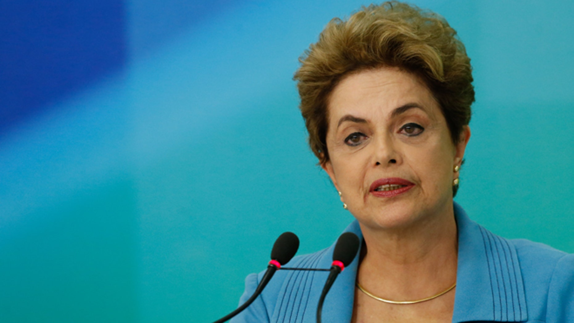 BRASILIA, BRAZIL - APRIL 18: President of Brazil Dilma Rousseff speaks at a press conference April 18, 2016 in Brasilia, Brazil. The lower house of Congress voted for a motion to impeach Rousseff and the process now moves to the Senate for a vote. (Photo by Igo Estrela/Getty Images)