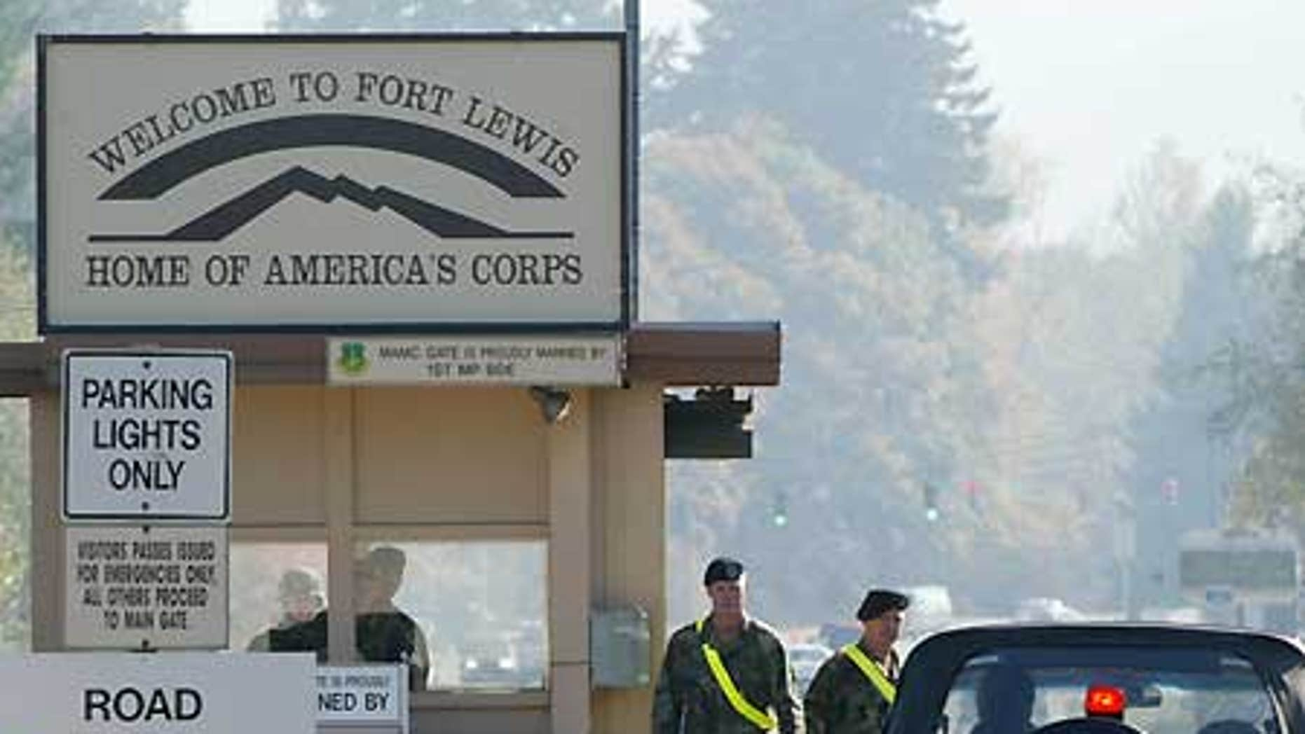 The entrance to the Fort Lewis army base in Washington State.