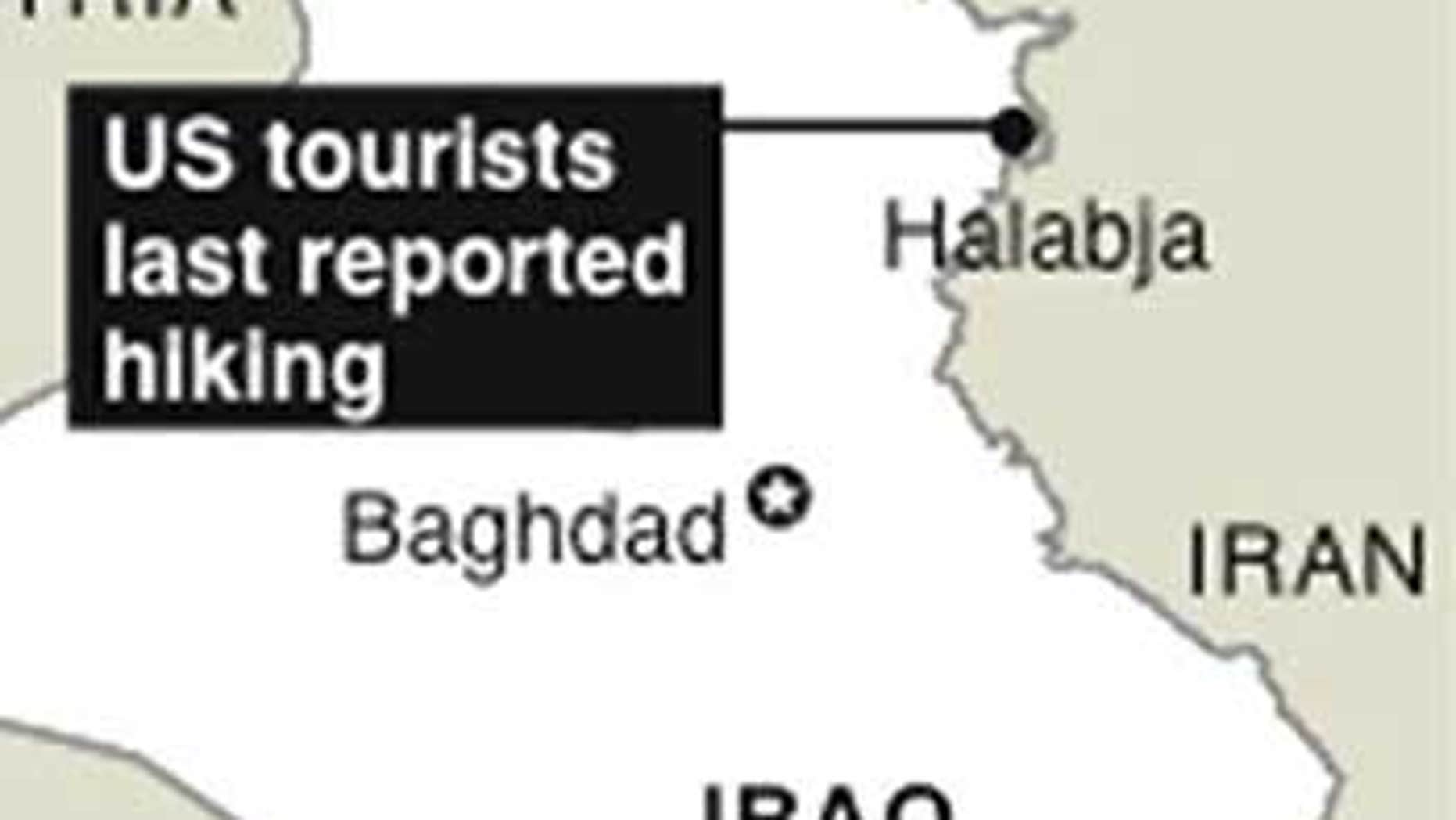 Map locates Halabja, Iraq, where US tourists last reported hiking.