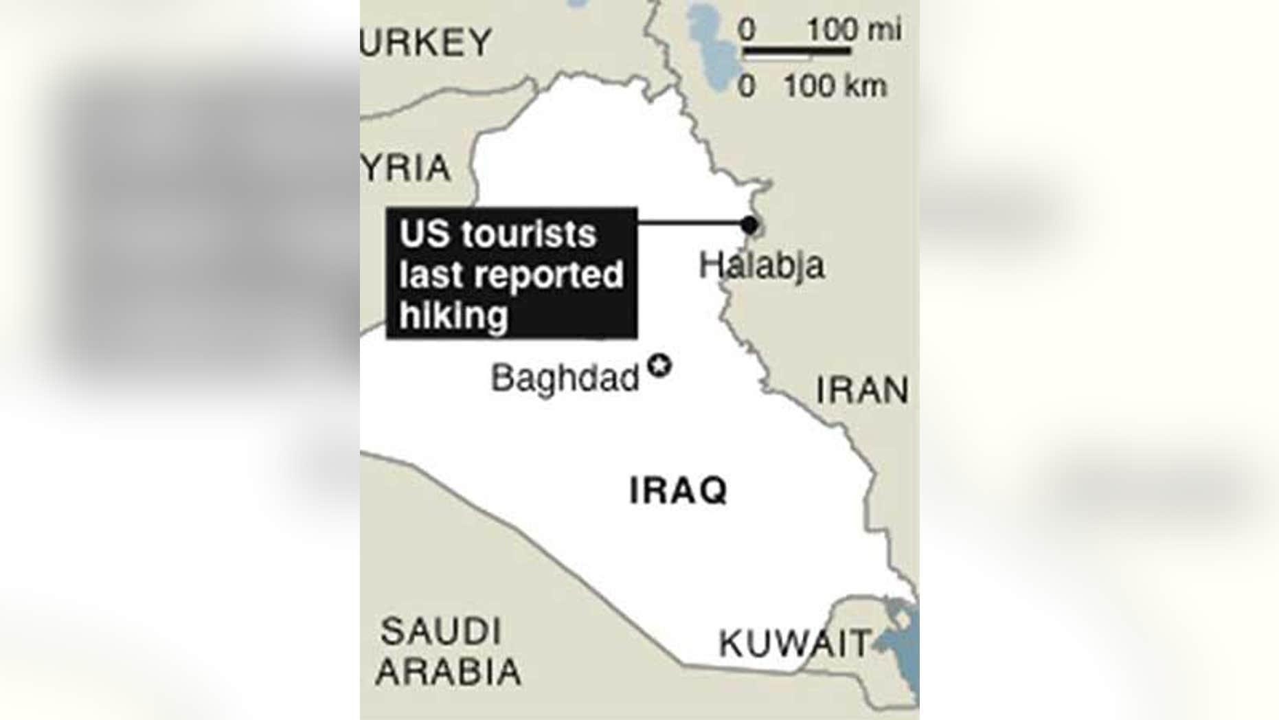 Map locates Halabja, Iraq, where US tourists last reported hiking.