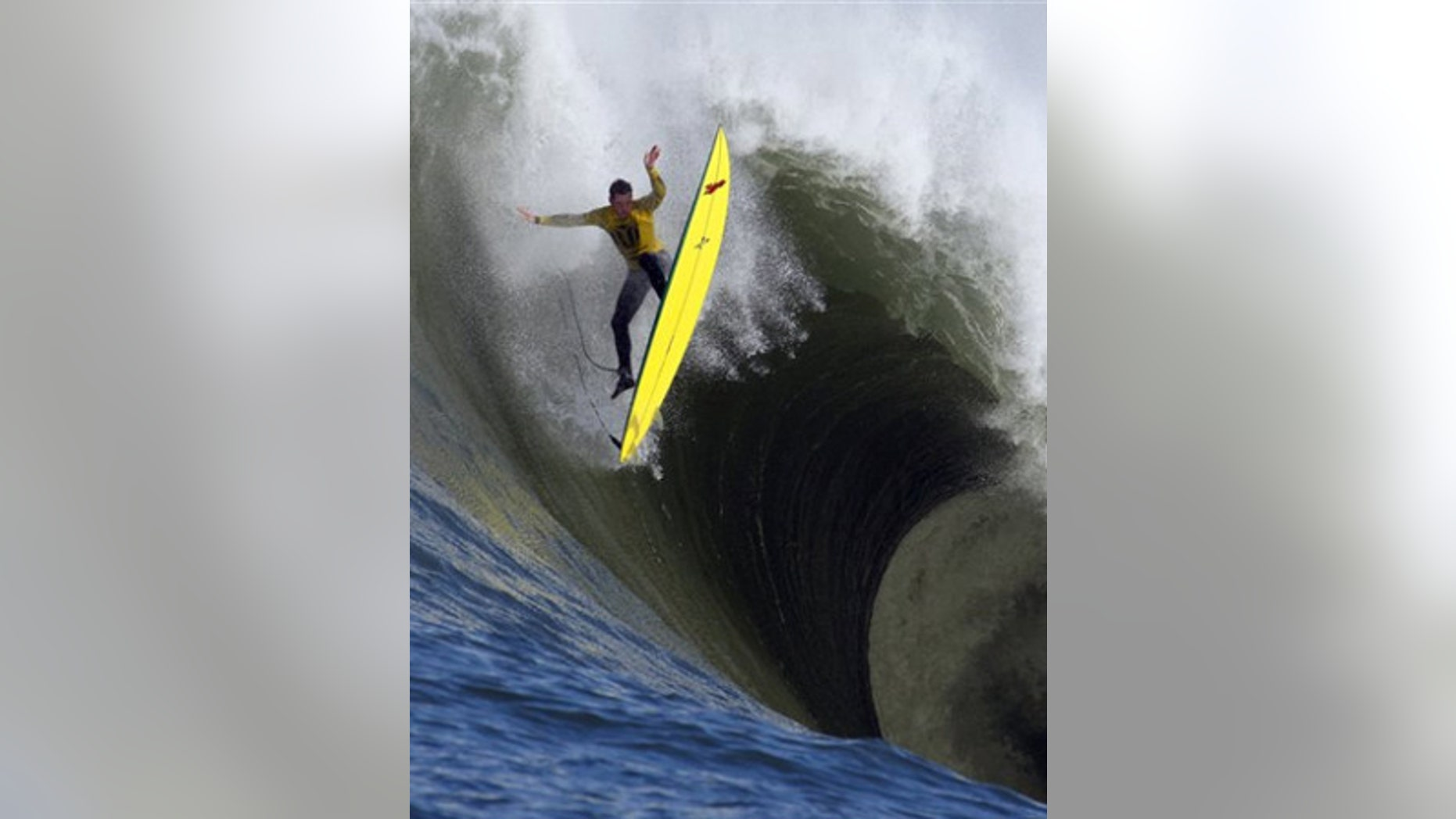 Feb. 13: Ion Banner loses control on a giant wave during the first heat of the Mavericks surfing contest in Half Moon Bay, Calif.