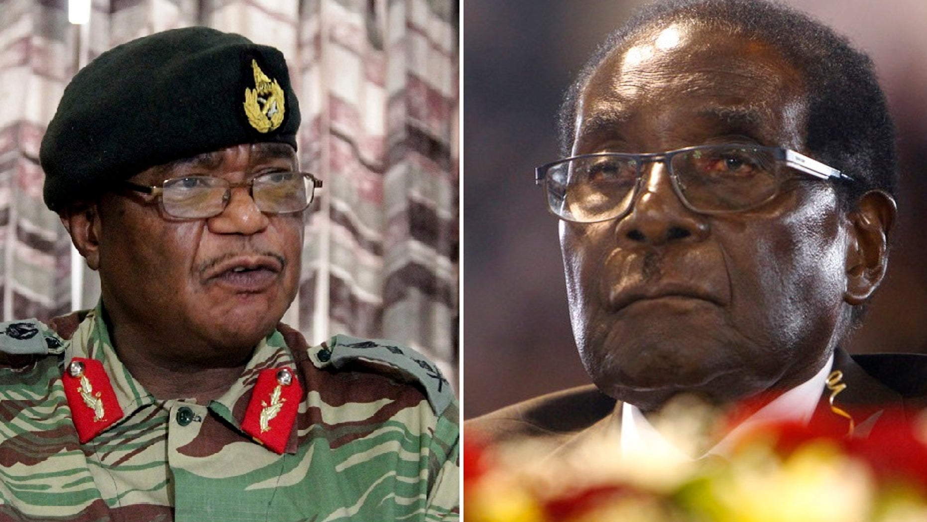 Zimbabwean army commander Constantino Chiwenga, left, and President Robert Mugabe were set to meet Sunday.