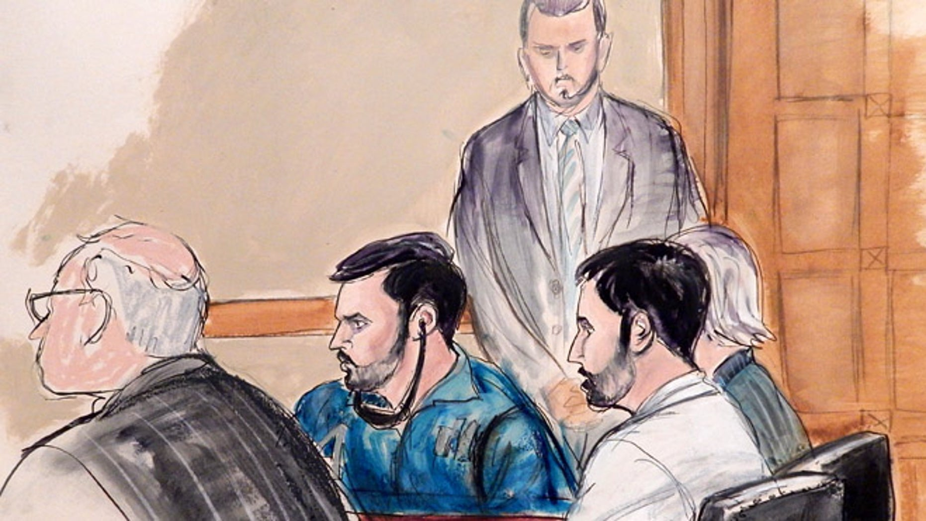 Courtroom sketch of Francisco Flores and Efrain Campos initial appearance in Manhattan federal court.