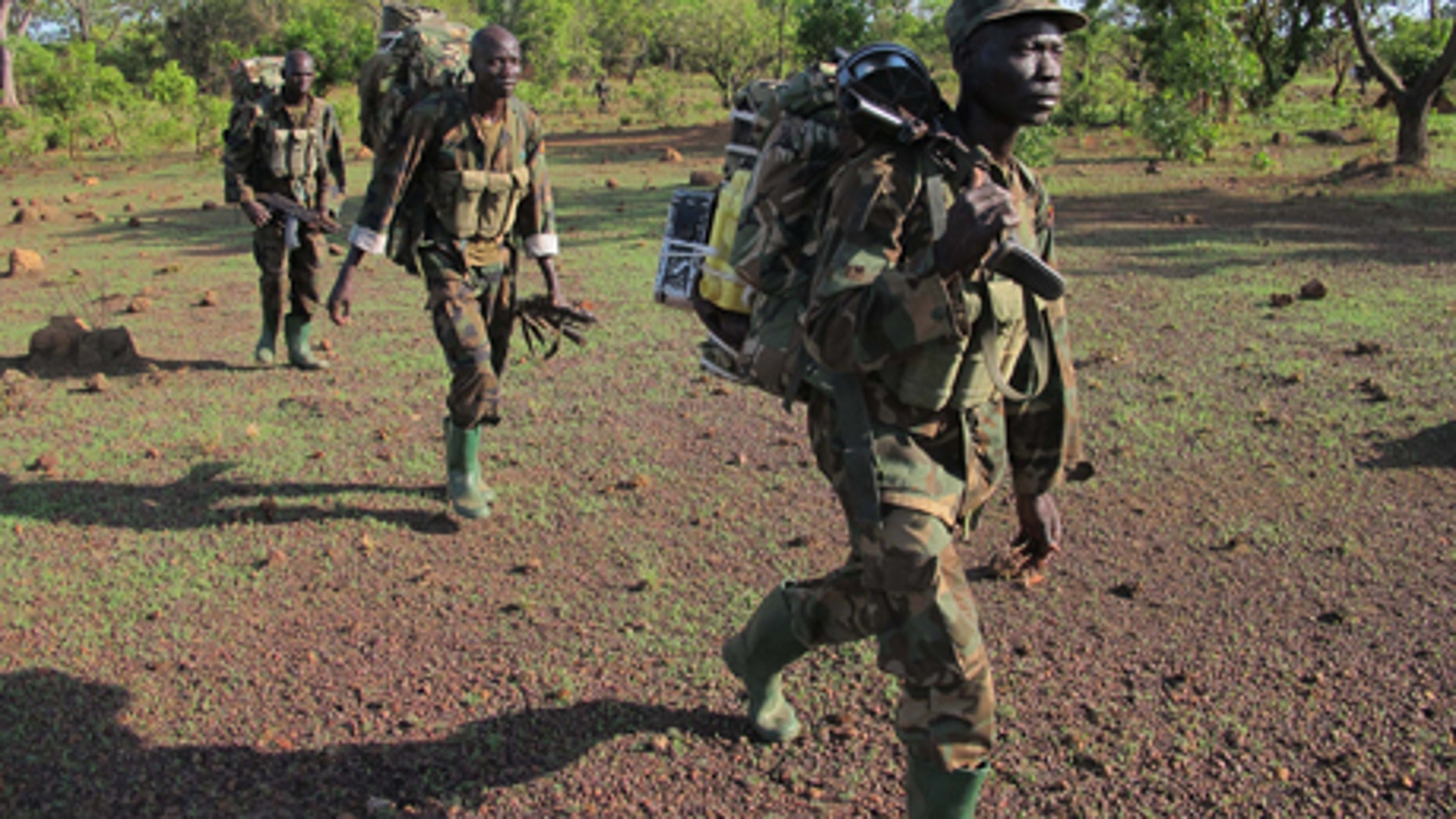 April 19, 2012: Ugandan soldiers hunting for fugitive warlord Joseph Kony deep in the Central African Republic jungle patrol the area. For Ugandan soldiers tasked with catching Joseph Kony, the real threat is not the elusive Central Africa warlord and his brutal gang. Encounters between Ugandan troops and Lord's Resistance Army rebels are so rare that the Kony hunters worry about other things when they walk the jungle: armed poachers, wild beasts, honey bees, and even a widely-ranging fly that torments their ears during day.