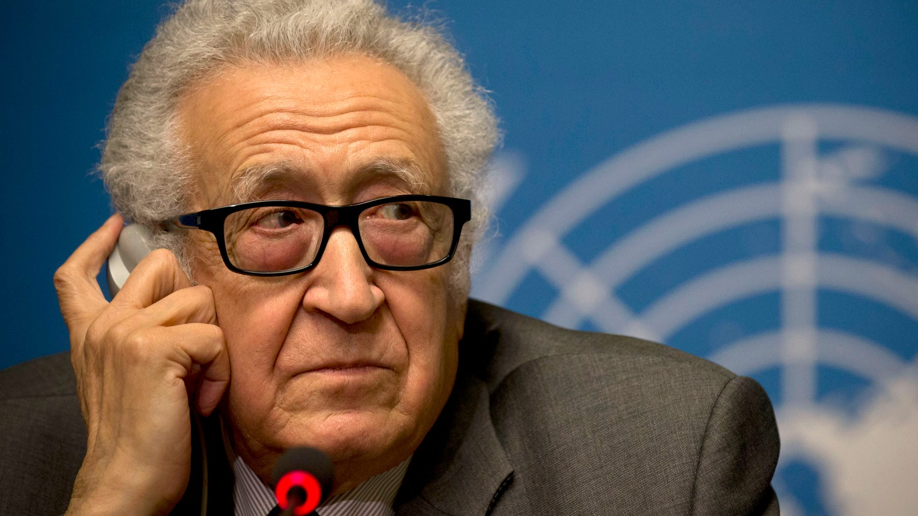 "U.N. mediator Lakhdar Brahimi listens during a press briefing at the United Nations headquarters in Geneva, Switzerland, Friday, Jan. 24, 2014. After three days of escalating rhetoric _ and a day spent assiduously avoiding contact within the United Nations _ the two sides will meet ""in the same room,"" said the U.N. mediator trying to forge an end to the civil war _ or at least a measure of common ground to stem a civil war that has left 130,000 people dead. (AP Photo/Anja Niedringhaus)"