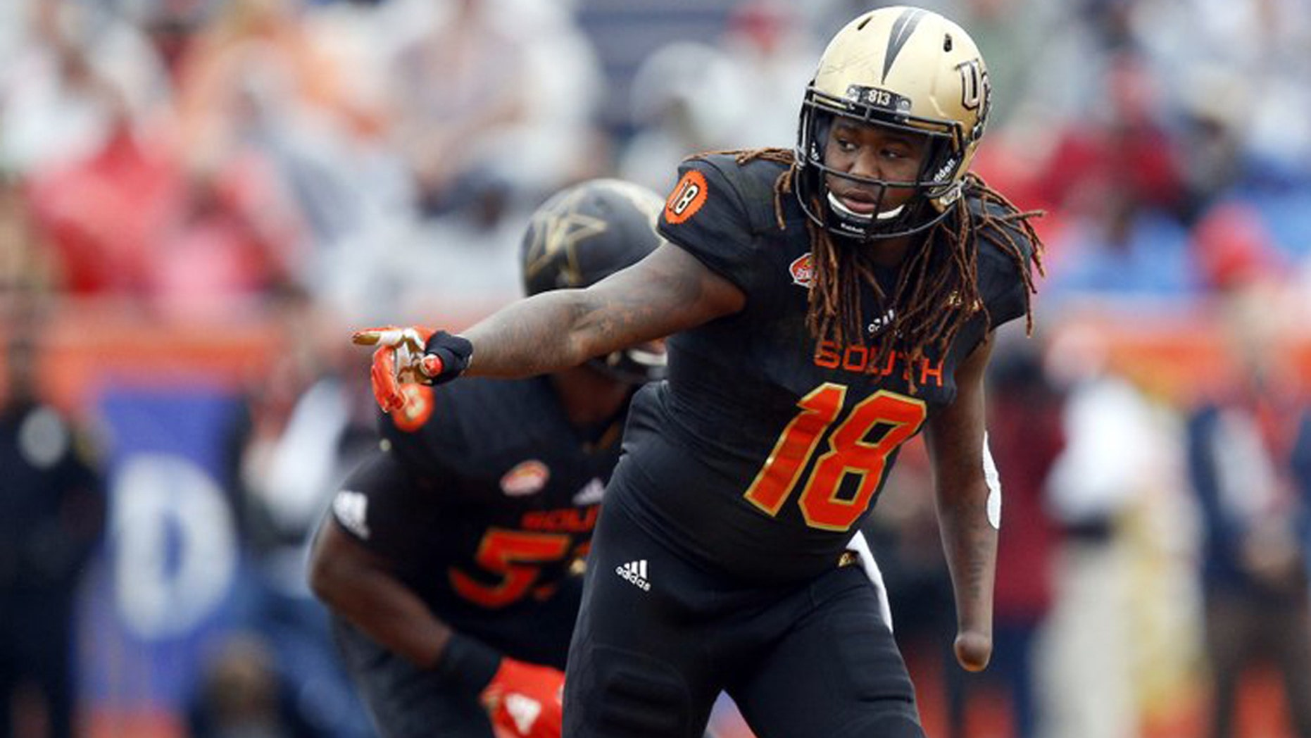 Shaquem Griffin, the one-handed do-it-all defender from Central Florida, was a late invitee to the NFL combine. Photo was taken during Senior Bowl in January.