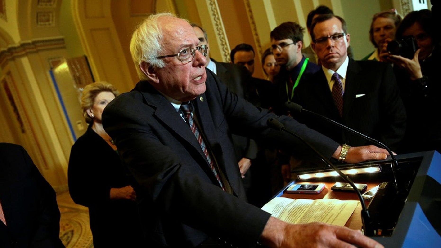 FILE -- Senator Bernie Sanders (D-VT) talks to the media on the president's FY2018 budget proposal on Capitol Hill in Washington, U.S., May 23, 2017.