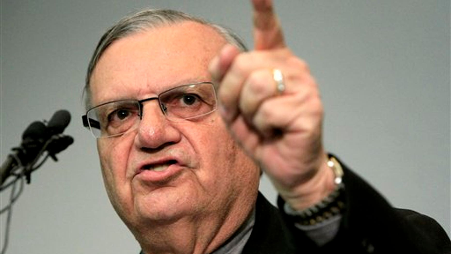 December 21, 2011: A defiant Maricopa County Sheriff Joe Arpaio speaks to the media before holding a ceremony where 92 of his immigration jail officers, who lost their federal power to check whether inmates are in the county illegally, turn in their credentials after federal officials pulled the Sheriff's office immigration enforcement powers.