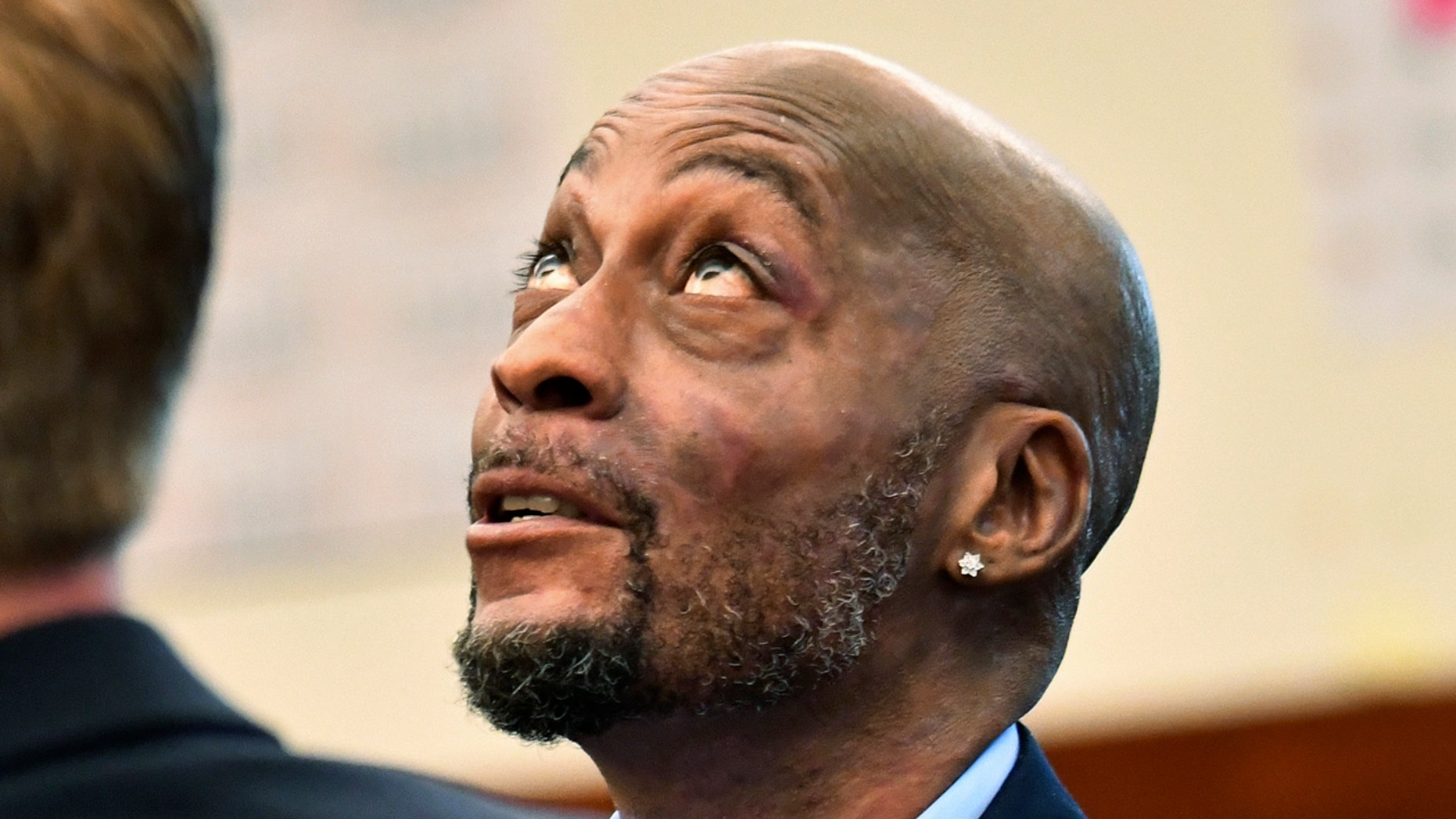 In this July, 9, 2018, file photo, plaintiff DeWayne Johnson looks up during a brief break as the Monsanto trial in San Francisco.