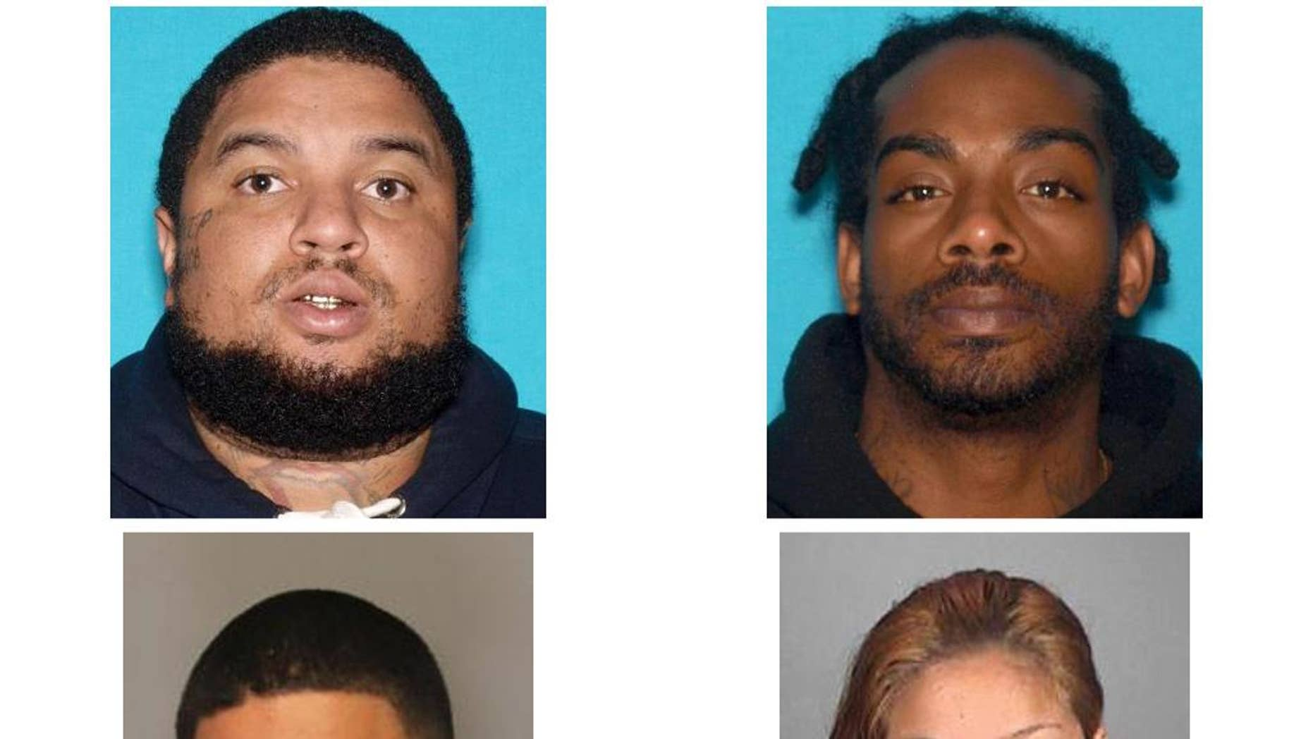 These undated mug photos released by the Vallejo Police Department shows suspects, top, left to right: Emmanuel Espinoza, Jalon Brown. Bottom, left to right: Larry Young, and Lovely Rauzol. On Friday July 1, 2016 the Vallejo Police Department received a report from John Babb, of San Francisco that his mother, Elvira Babb, of Vallejo was a victim of a kidnaping for ransom. Vallejo Police detectives developed sufficient information to obtain an arrest warrant for the primary suspect in this case. He has been identified as Emmanuel Espinoza of Stockton. Espinoza was located and arrested in the Sacramento area. Espinoza has not divulged the location of the victim. All four suspects were booked into the Solano County Jail on a charge of kidnapping for ransom. (Vallejo Police Department via AP)